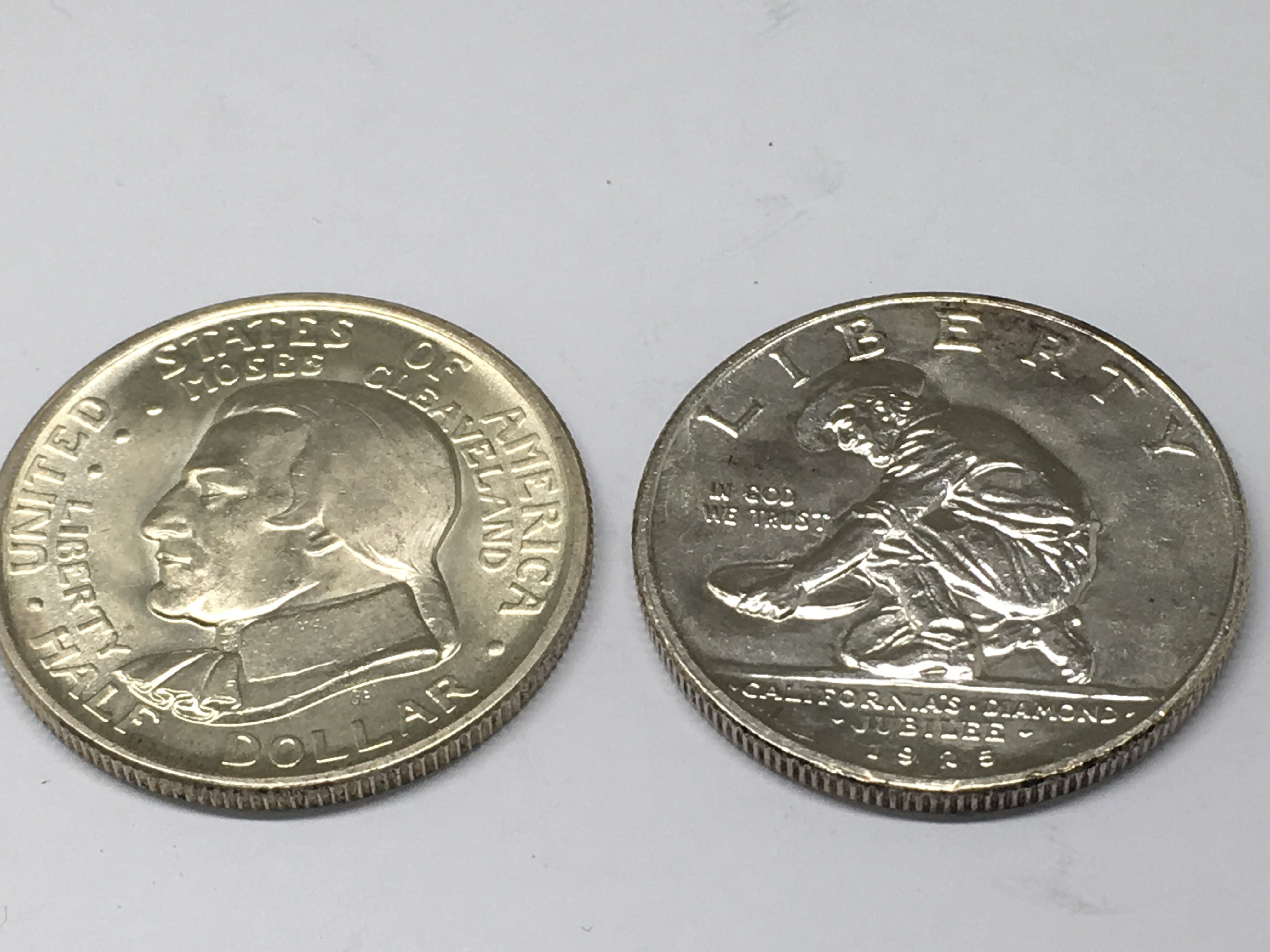 Lot 156 - Two American commemorative half dollar coins. The