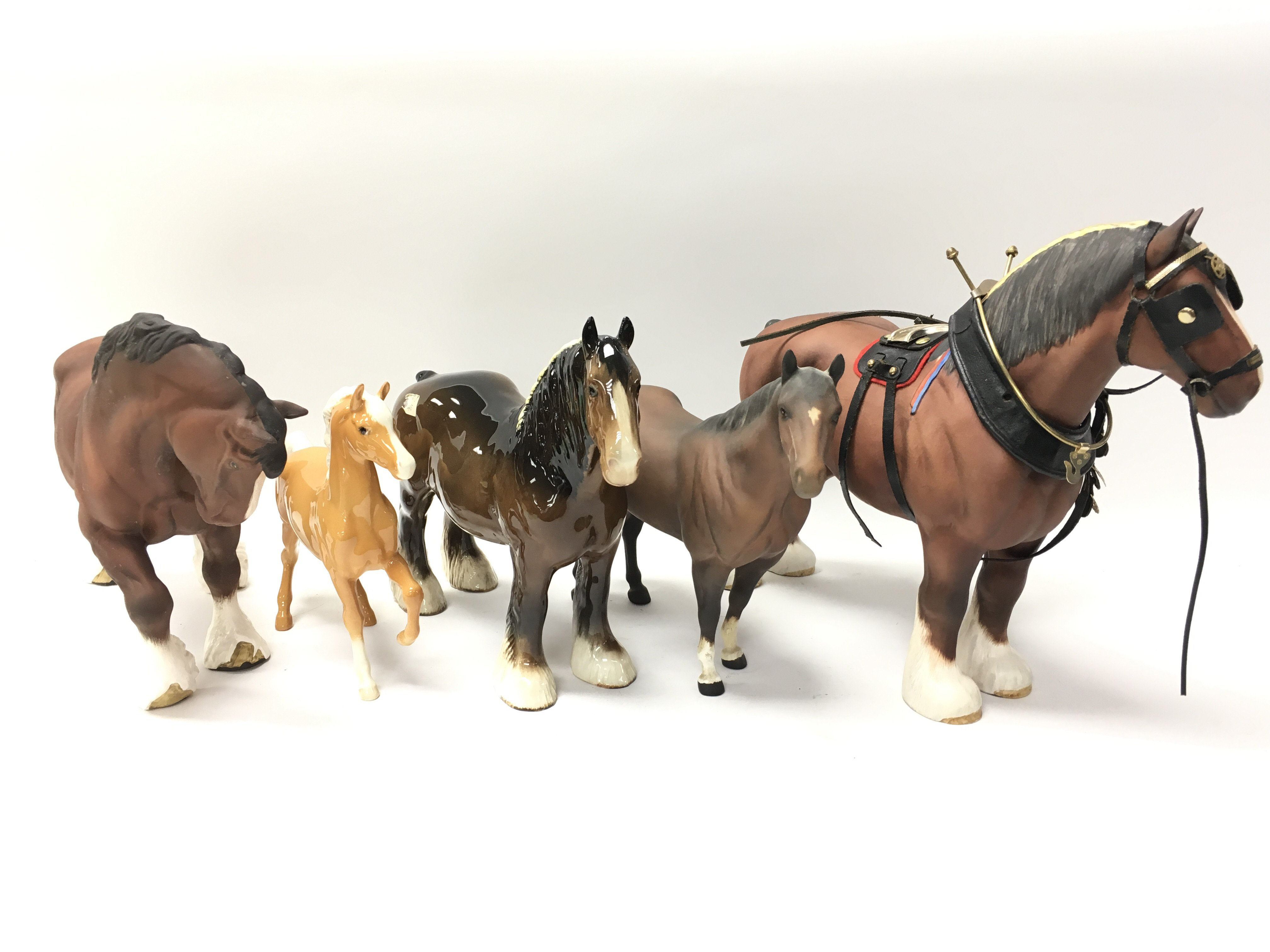 Lot 739 - Five Beswick horses of various style to include a