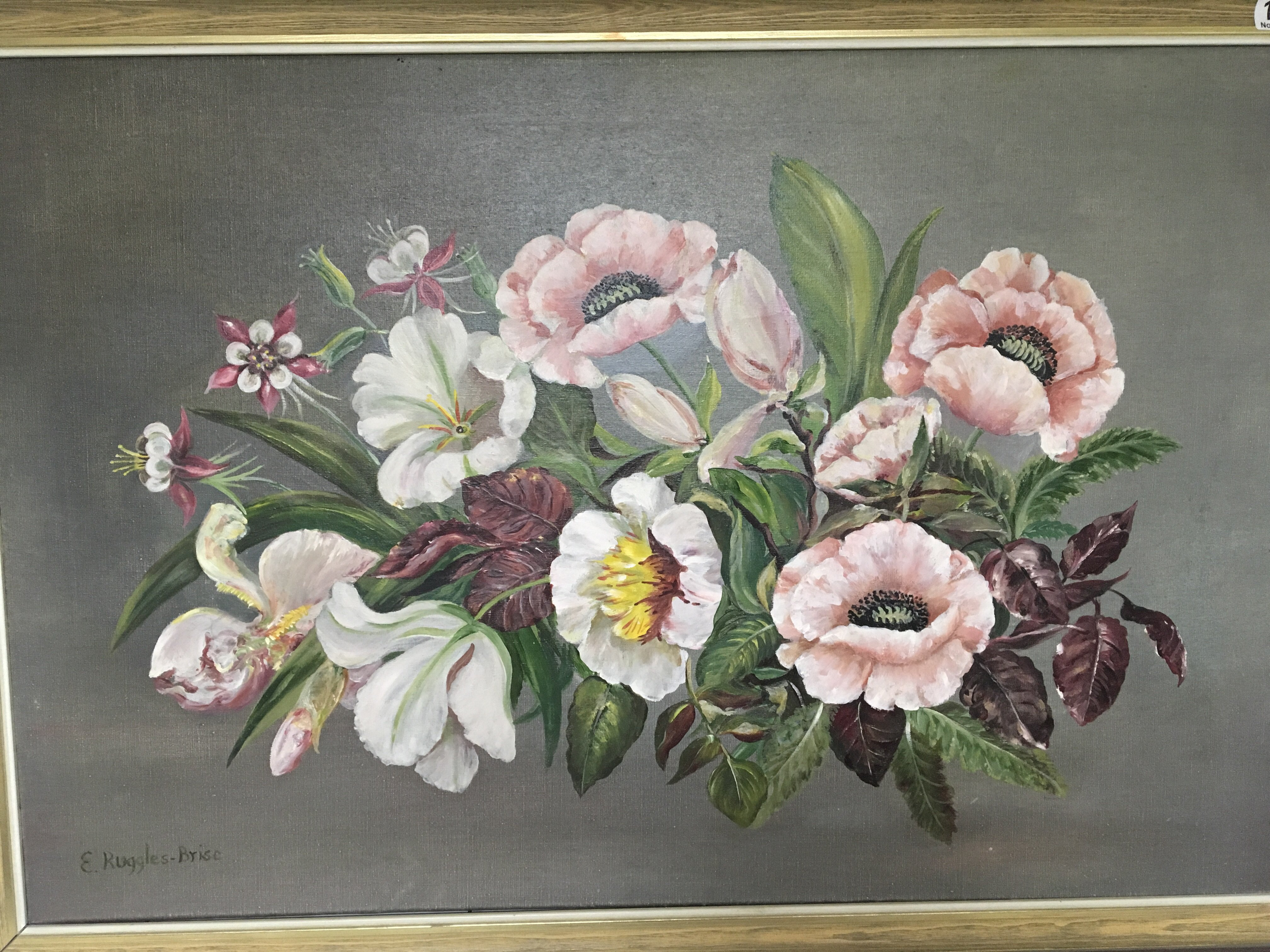 Lot 1237 - A framed oil painting on canvas still life study of flowers and foliage. By Lieutenant-Colonel Sir
