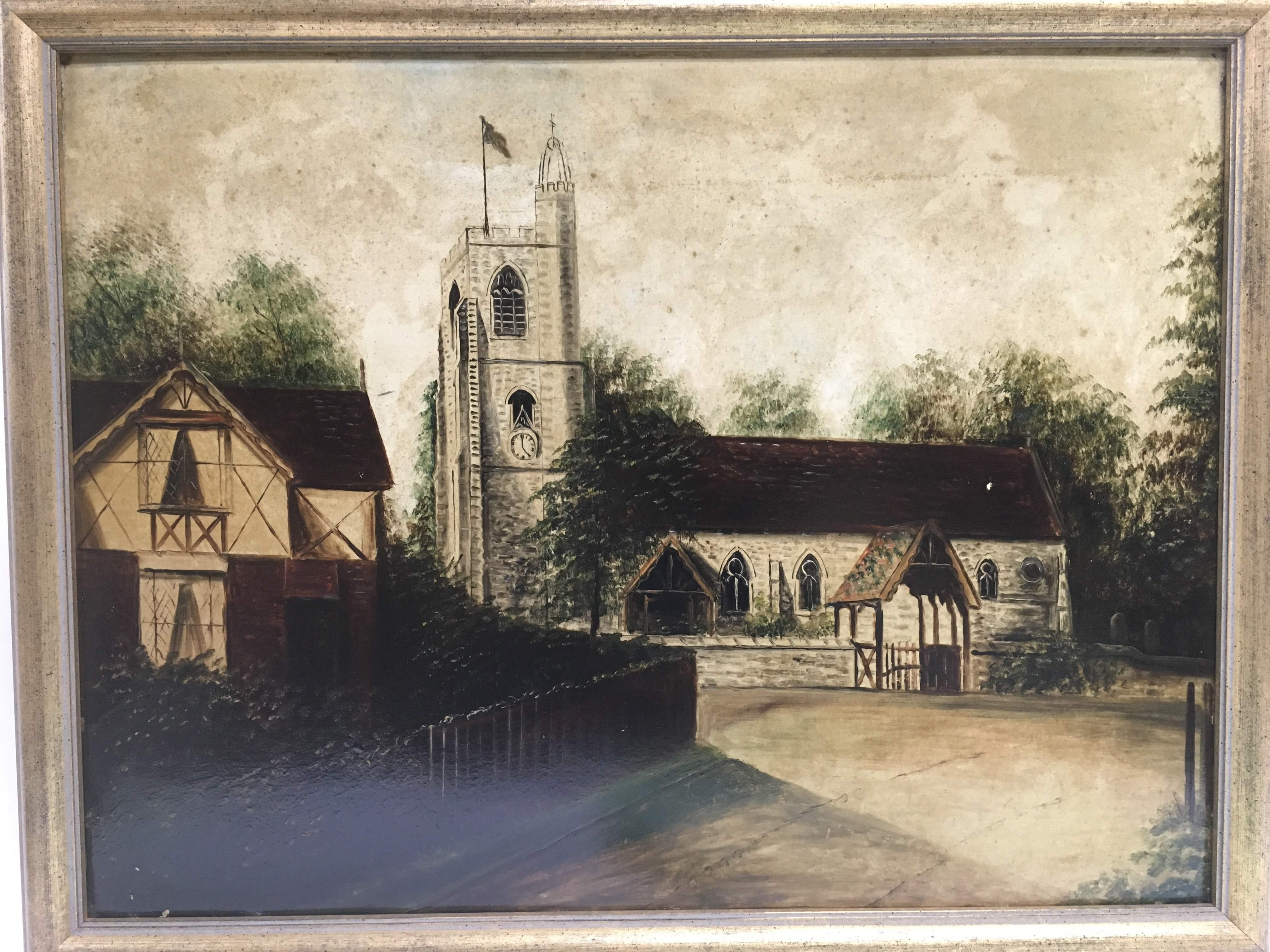 Lot 1238 - Two 19th Century oil on board paintings of churches, approx 68cm x 53.5cm.