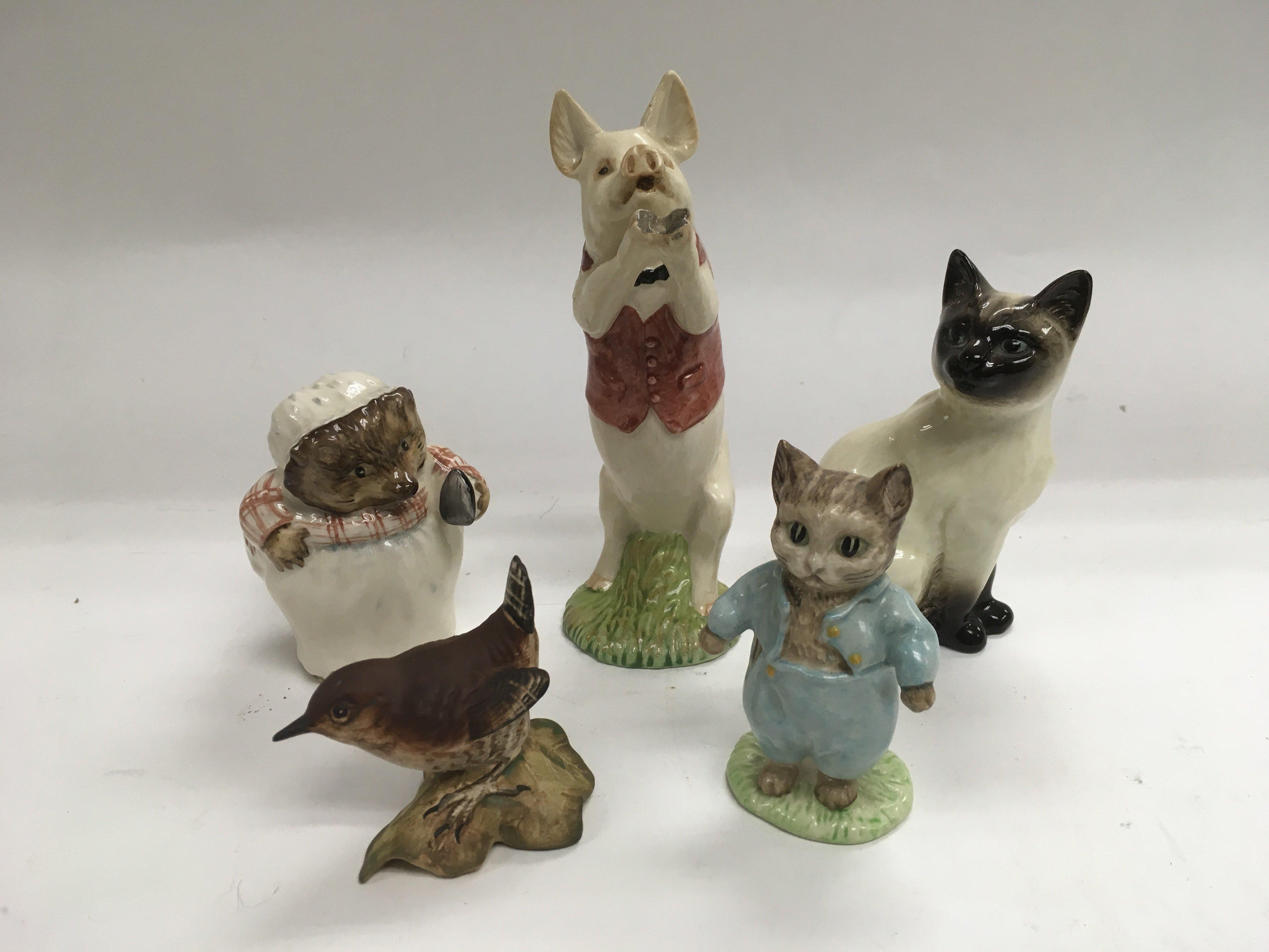 Lot 778 - Five Beswick figures of animals.