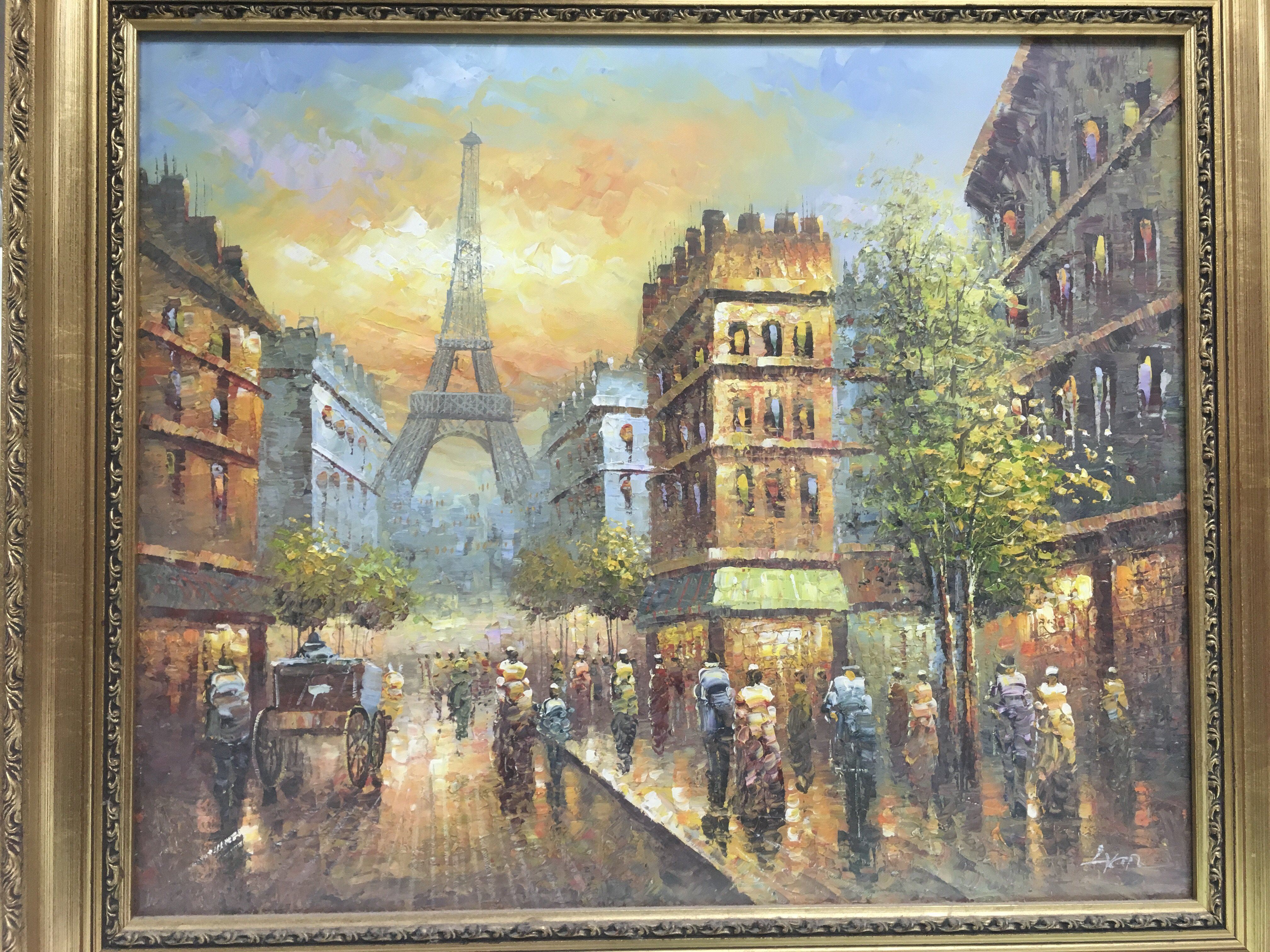 Lot 1231 - A gilt framed oil painting of a Parisian street scene, indistinctly signed, approx 75cm x 65cm.