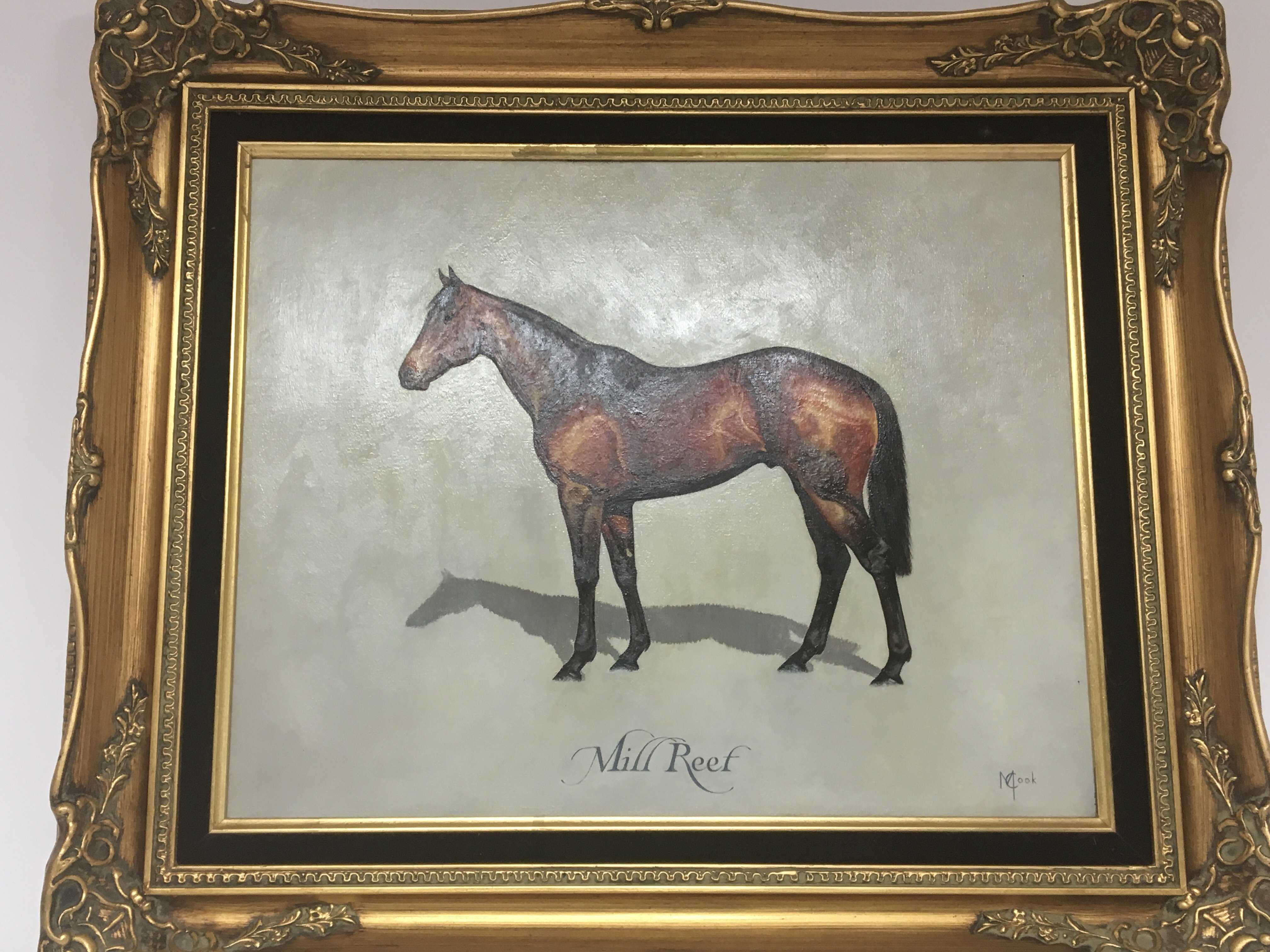 Lot 1221 - A gilt Framed oil painting on canvas of Mill Reef.