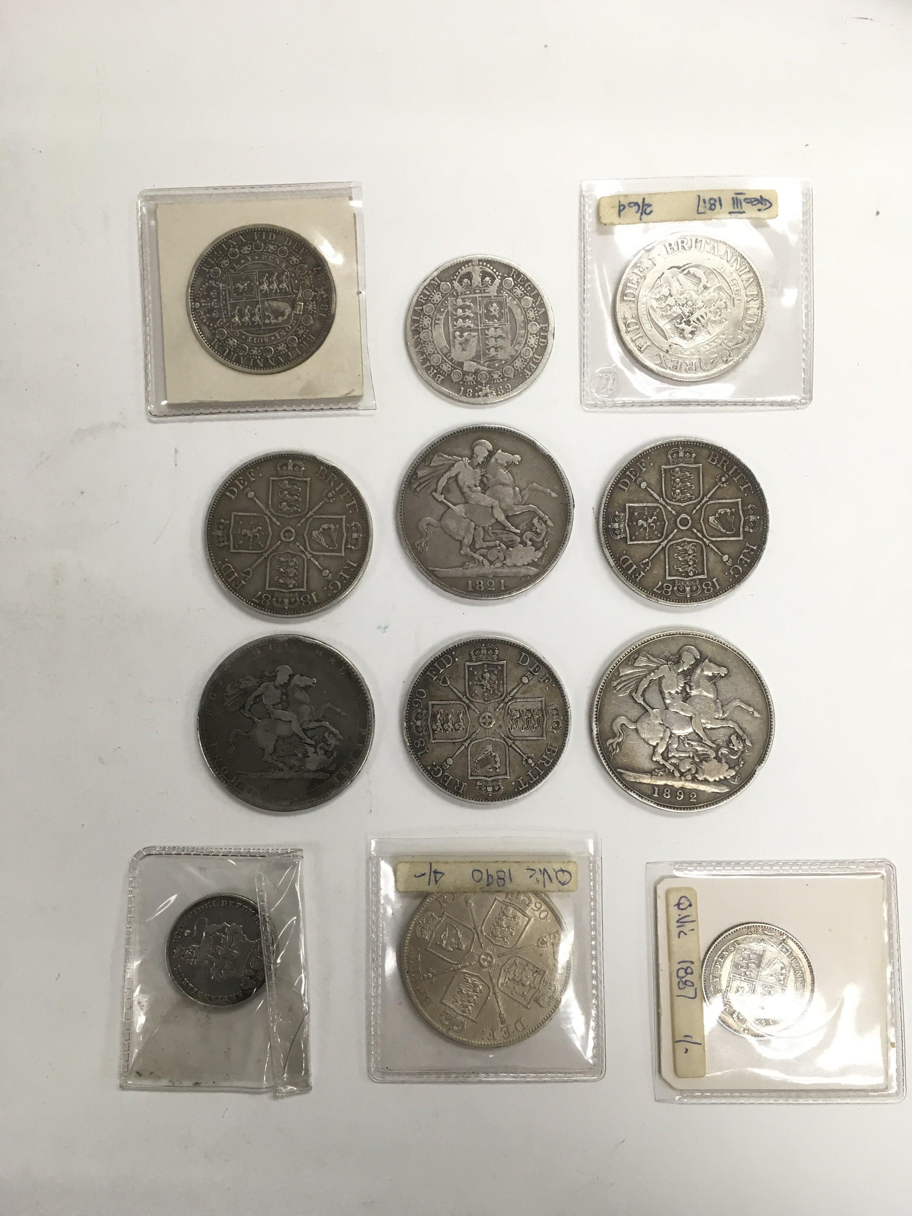 Lot 332 - Twelve Victorian and later silver coins.