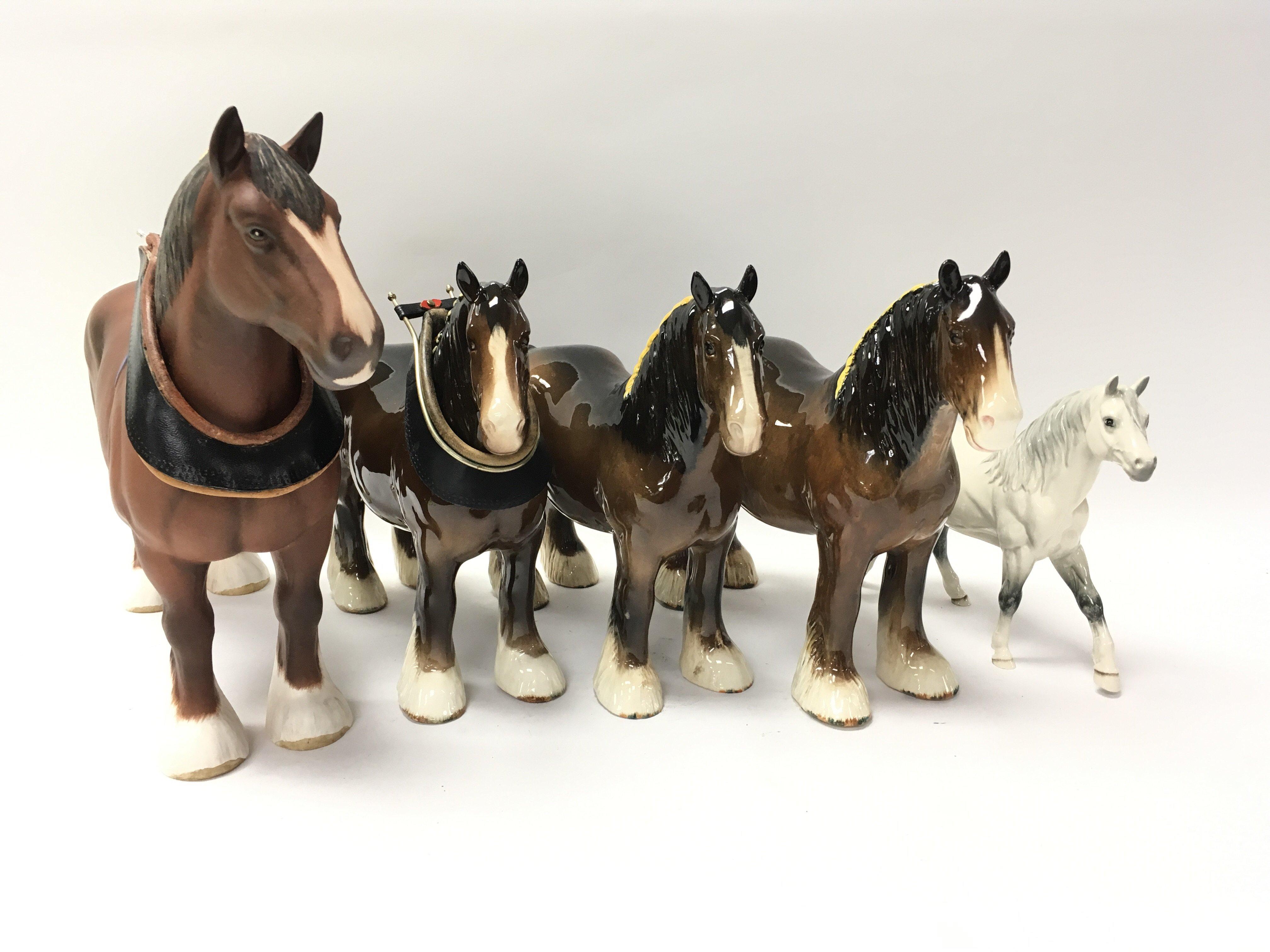 Lot 740 - Five ornamental Beswick horses of various style -