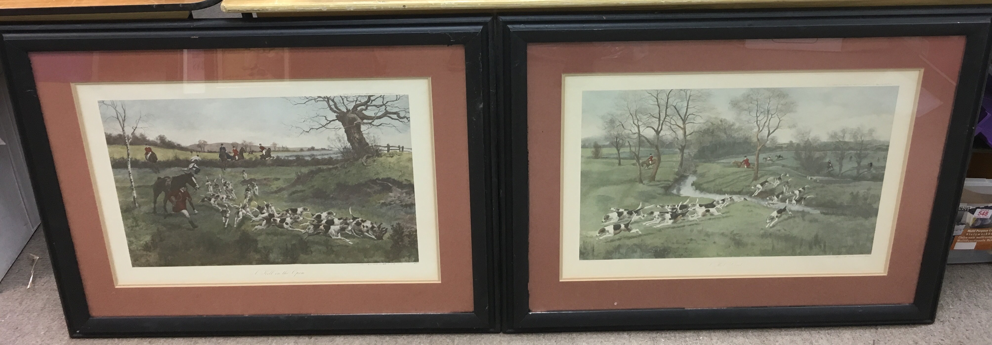 Lot 1225 - Two, large framed late Victorian hunting prints.Ap