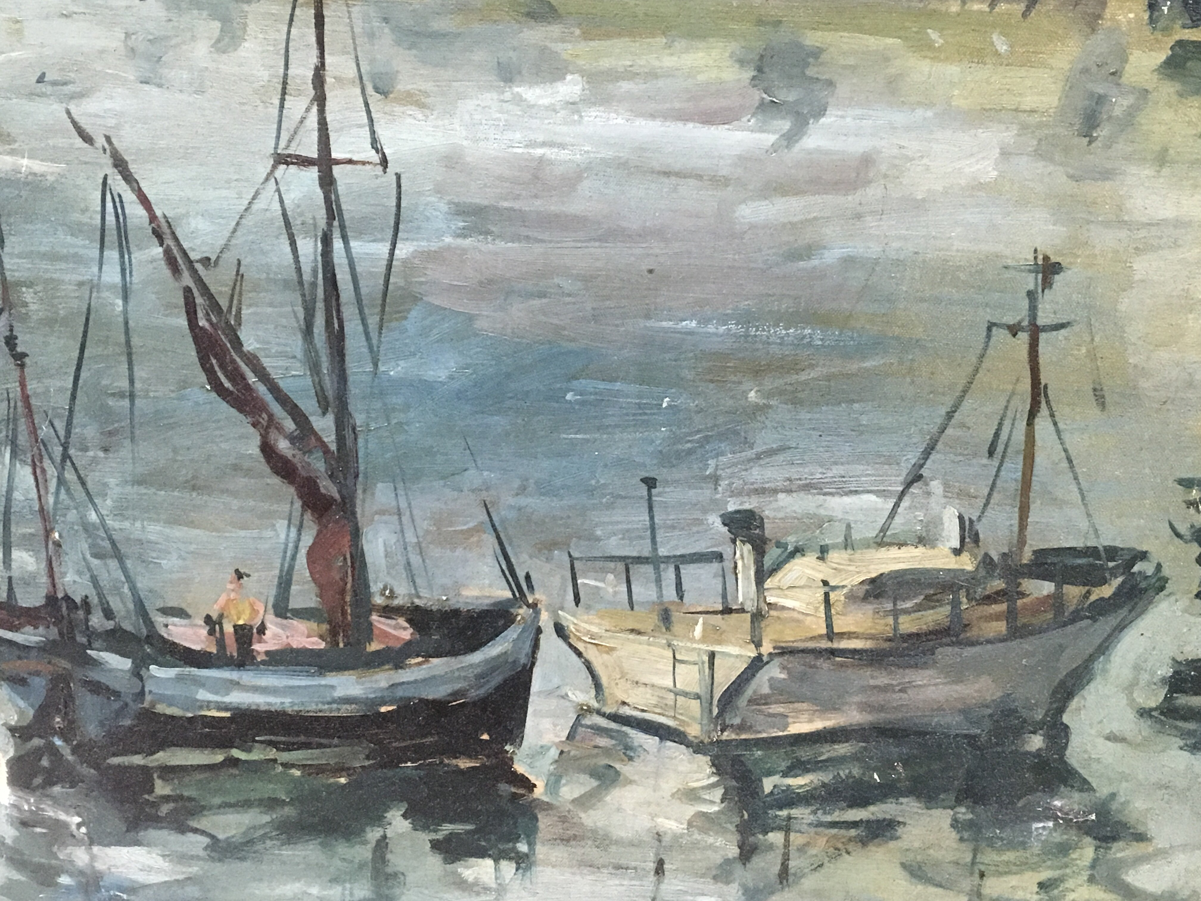 Lot 1228 - An oil on canvas of fishing boats in a harbour, attributed to D.Grant. Approx 61cm x 51cm, a/f.