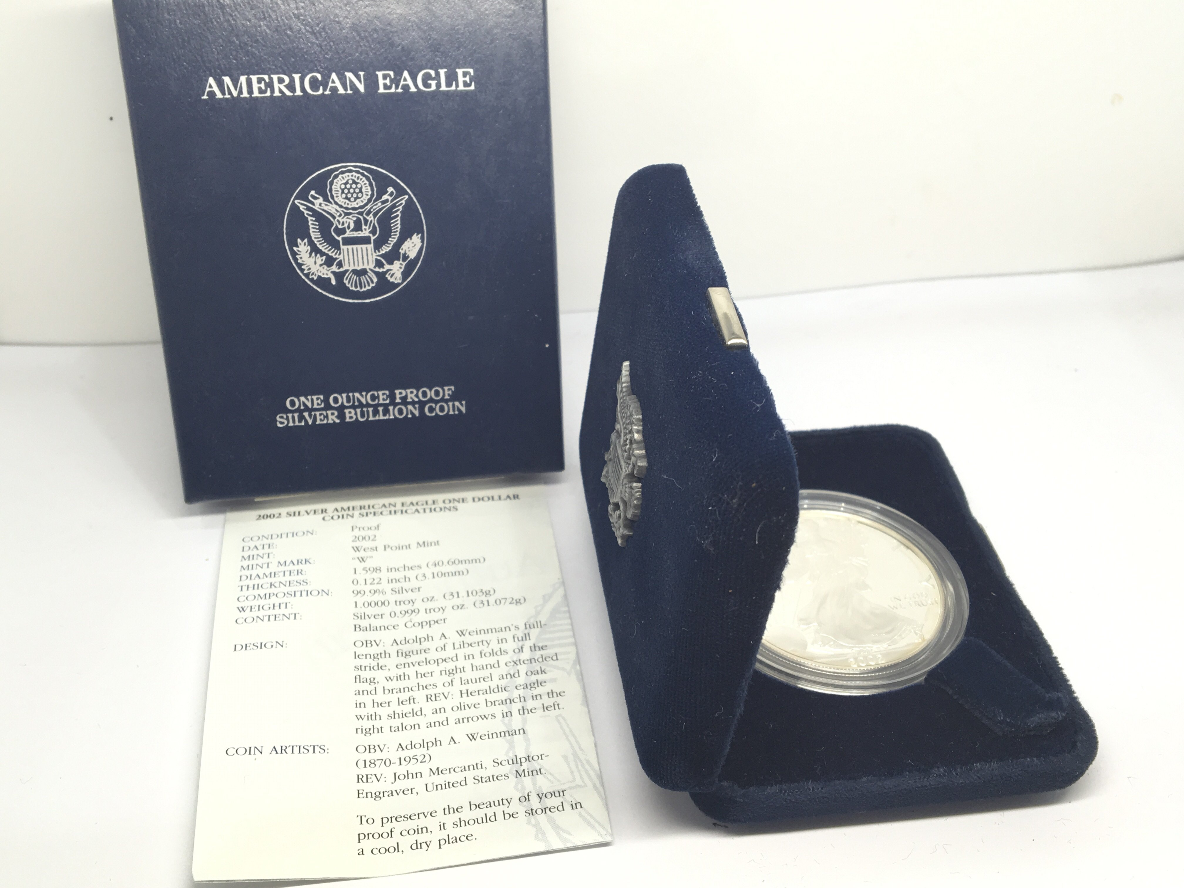 Lot 112 - A Silver 2002 Proof American silver (9.99%) dollar