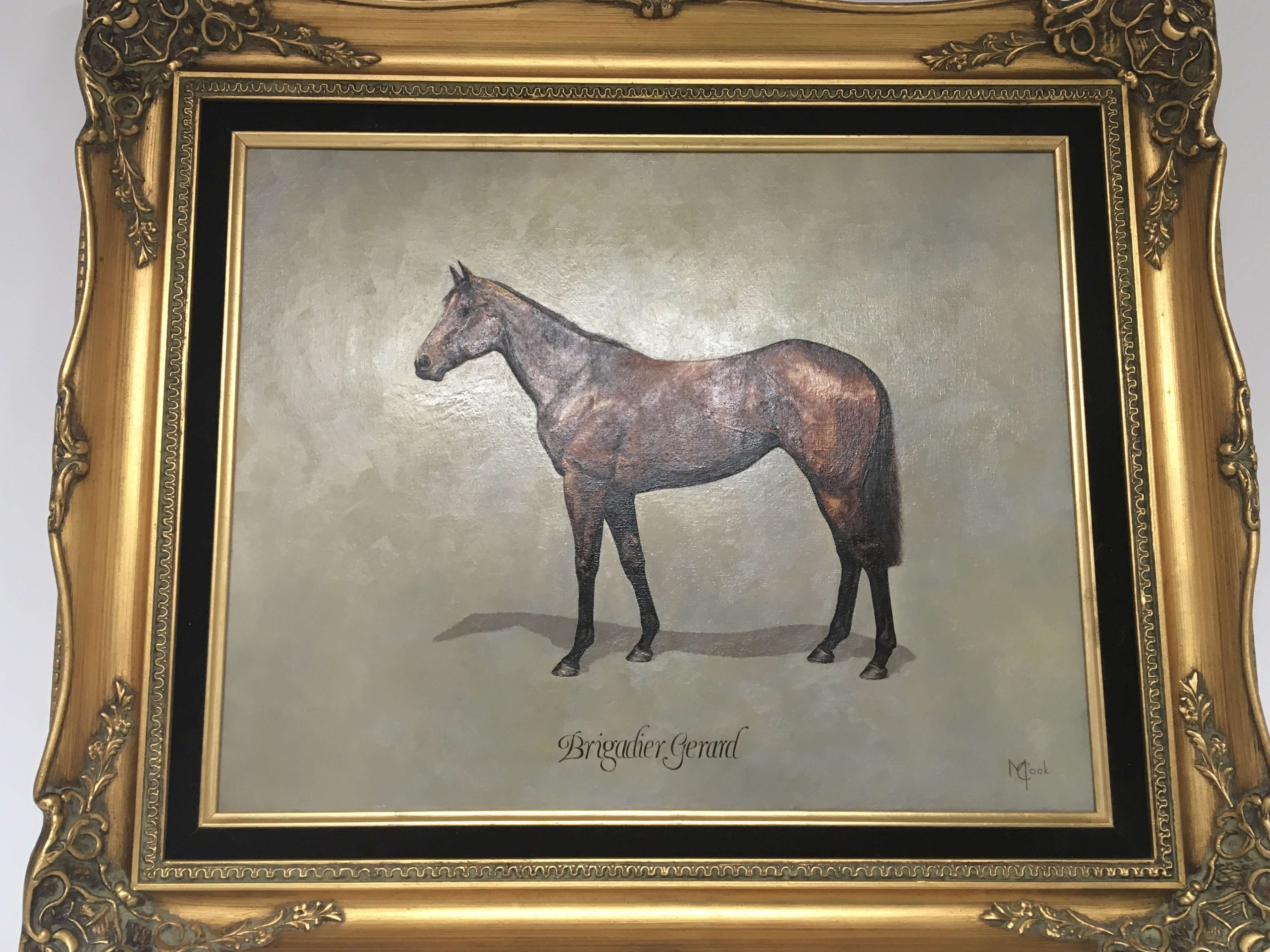 Lot 1223 - A framed oil painting on canvas of the Race horse