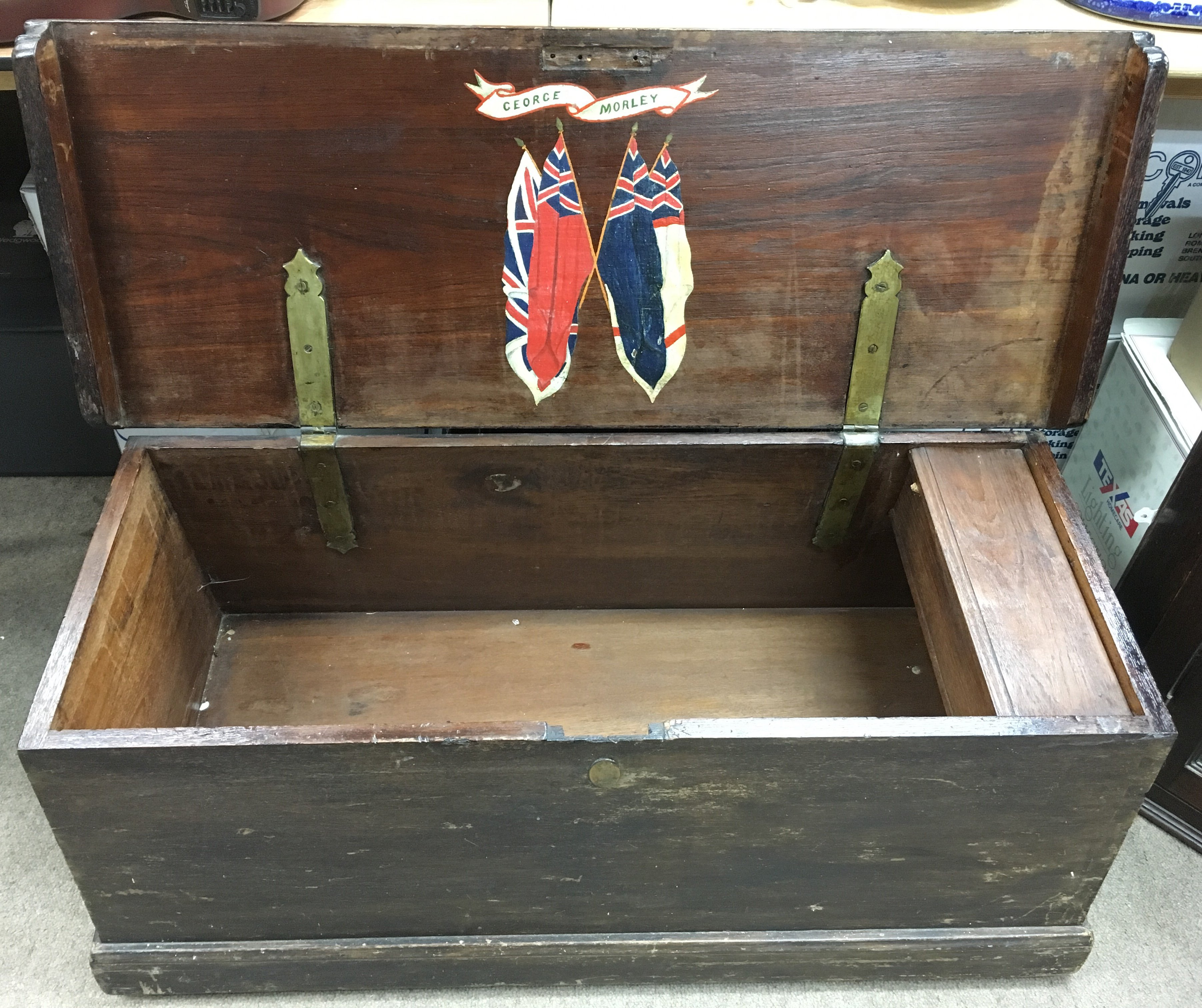 Lot 1766 - A sailor's wooden travelling trunk, the inside lid