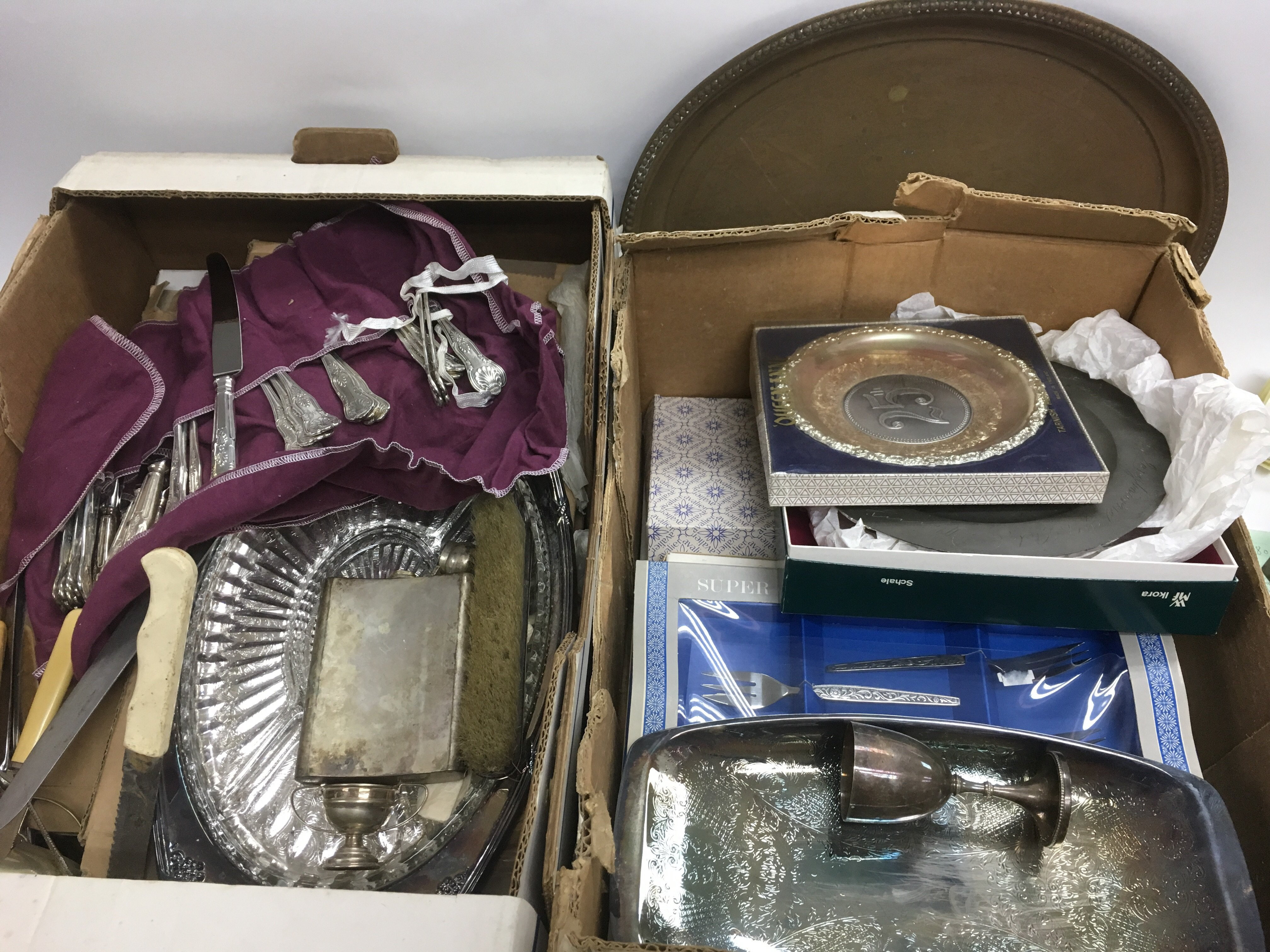 Lot 322 - Two boxes of mainly silver plated items including