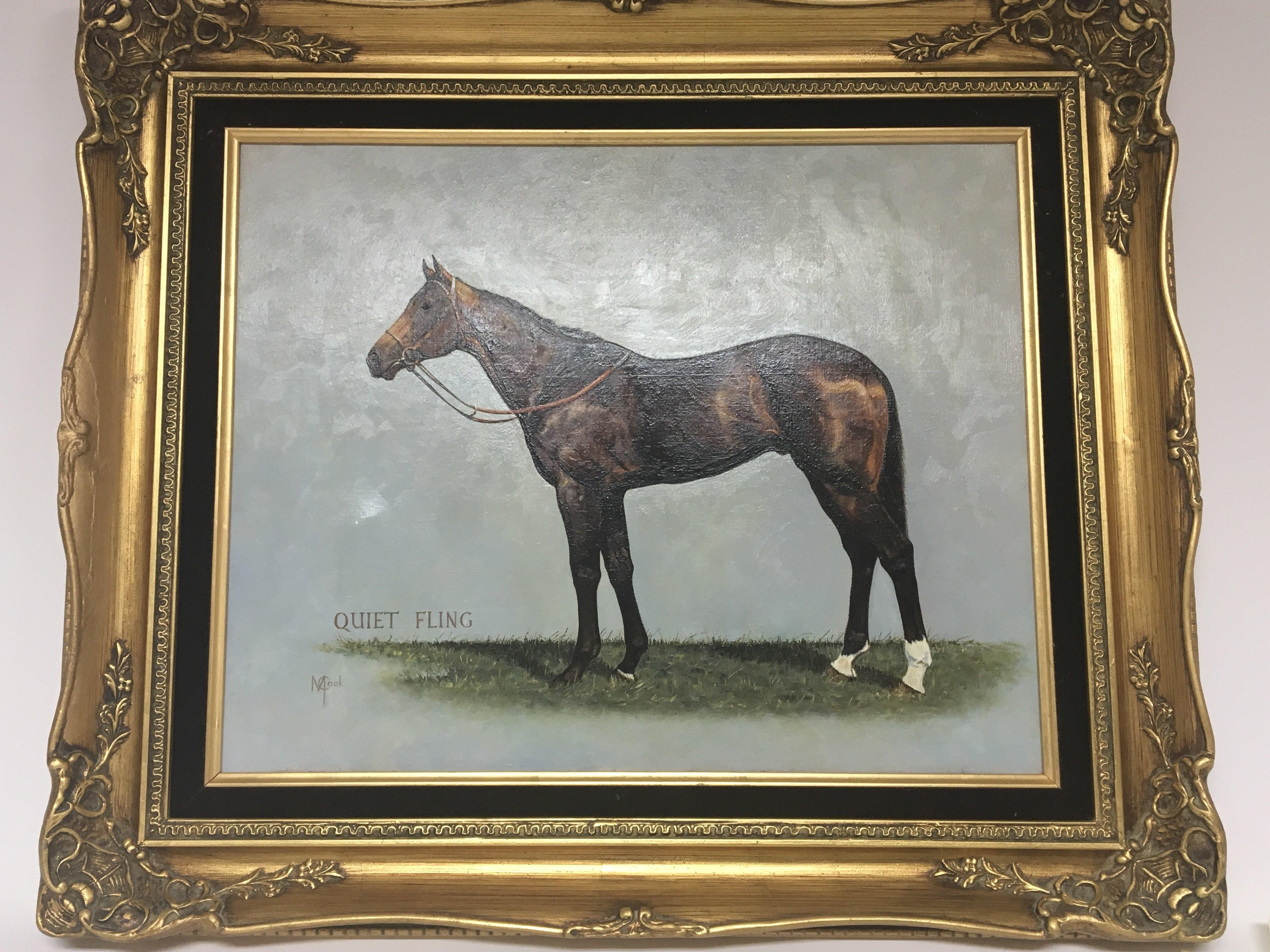 Lot 1222 - A gilt Framed oil painting on canvas. The Racehors