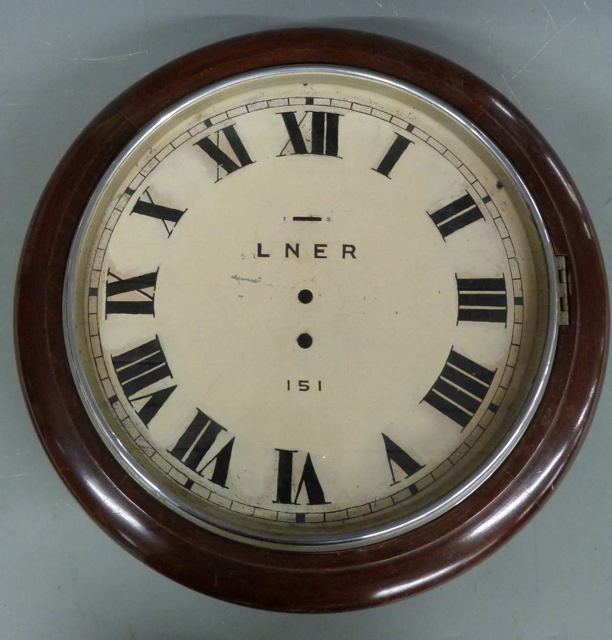 Lot 30 - LNER dial wallclock case and dial with LNER 151 to dial, overall diameter 40cm, together with a
