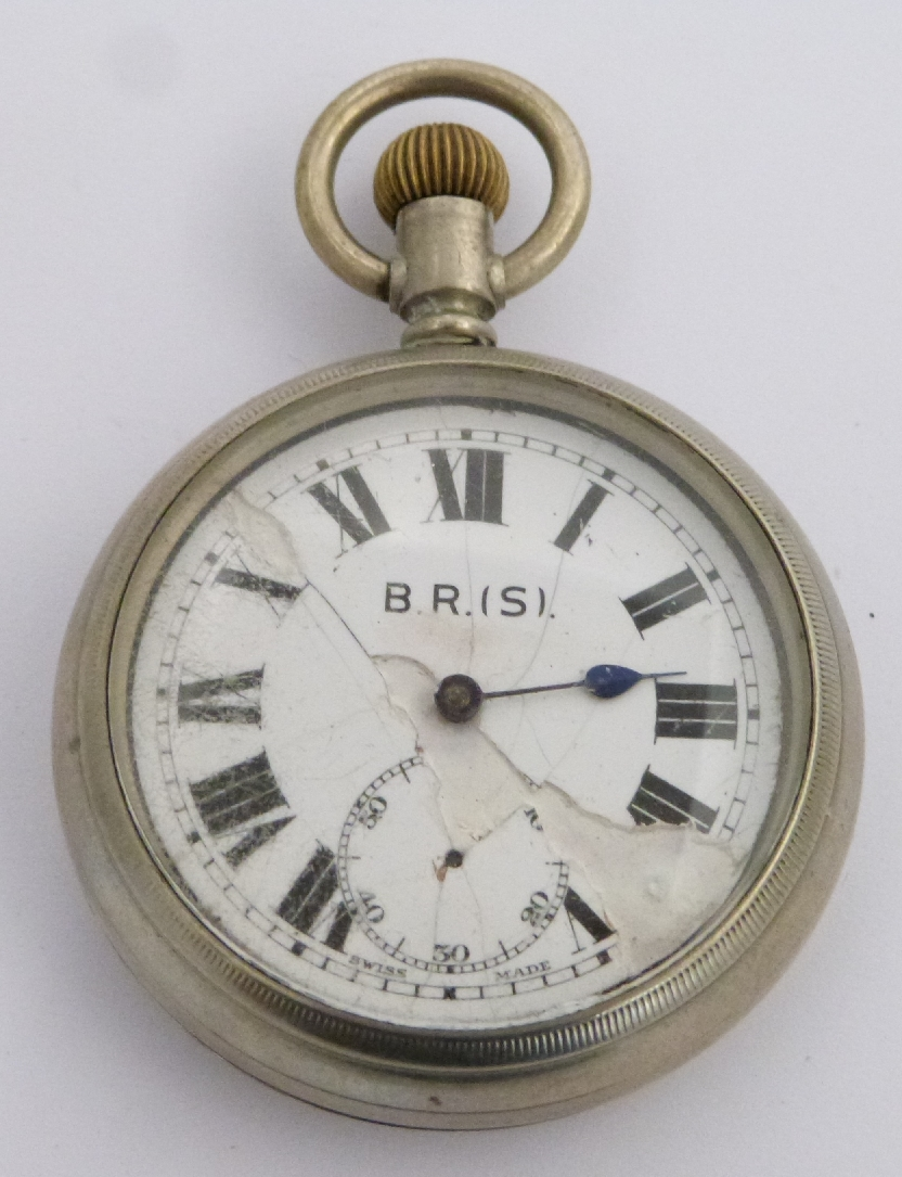 Lot 45 - Southern Railway keyless winding open faced pocket watch with inset subsidiary seconds dial, black