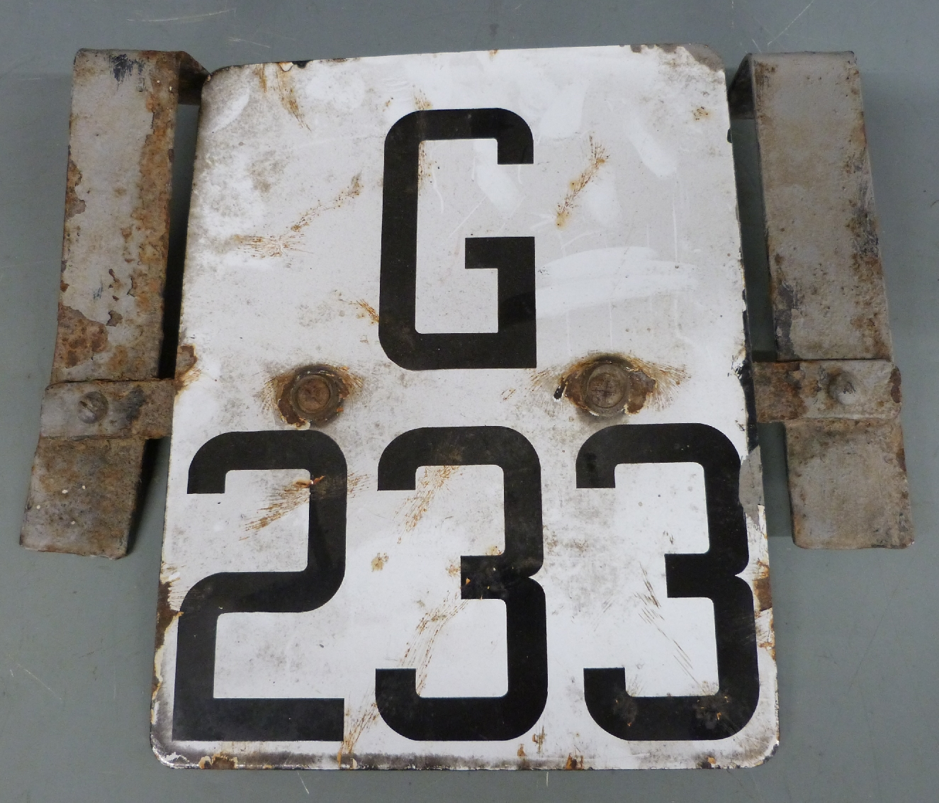 Lot 22 - Railway signal/points enamel identification marker or sign G233, ex Gloucester station, height 33cm