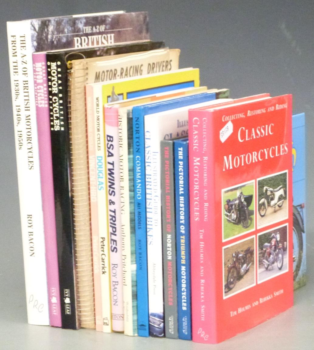 Lot 2 - Motorcycle interest books including Douglas, Norton, BSA, Triumph, Vincent, Motor-Racing Drivers