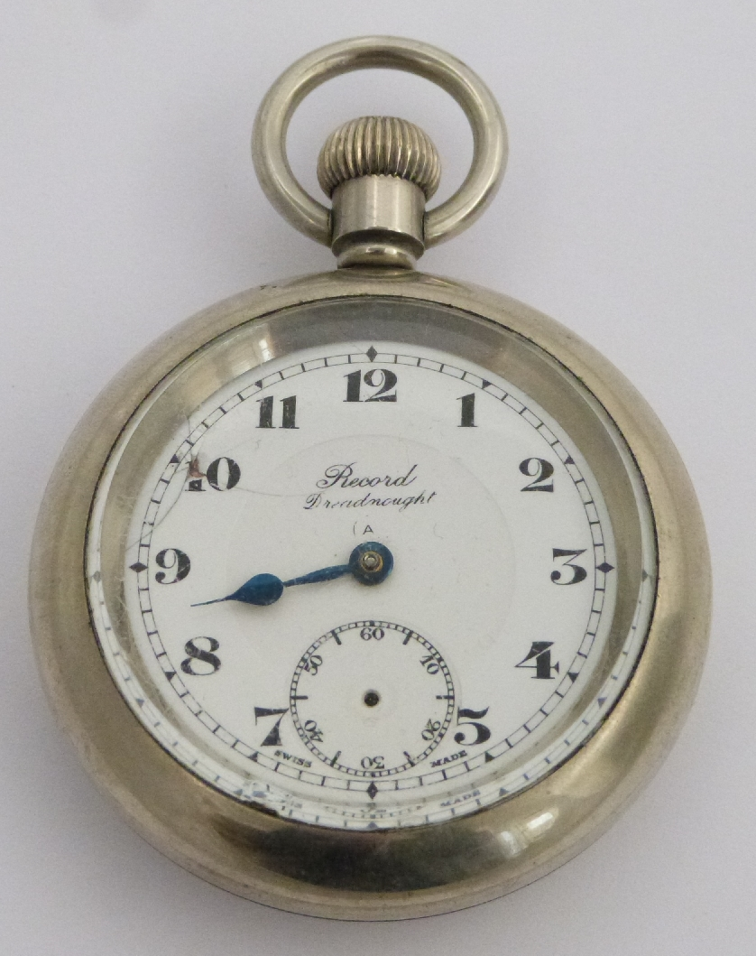 Lot 33 - London Midland and Scottish railway Record Dreadnaught keyless winding open faced pocket watch
