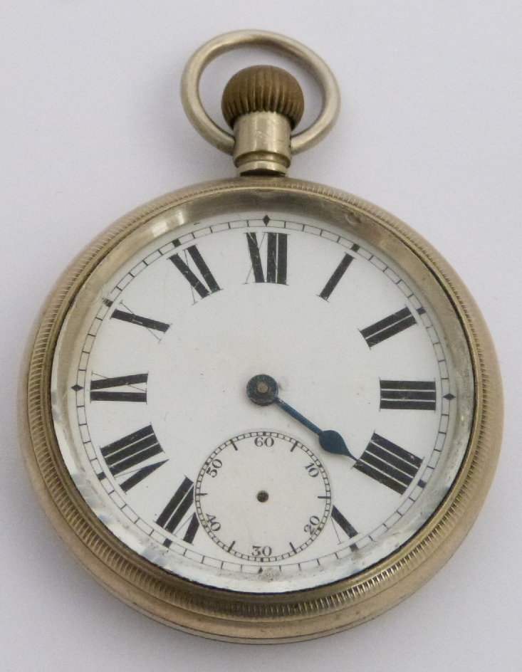 Lot 35 - London Midland and Scottish railway keyless winding open faced pocket watch with inset subsidiary