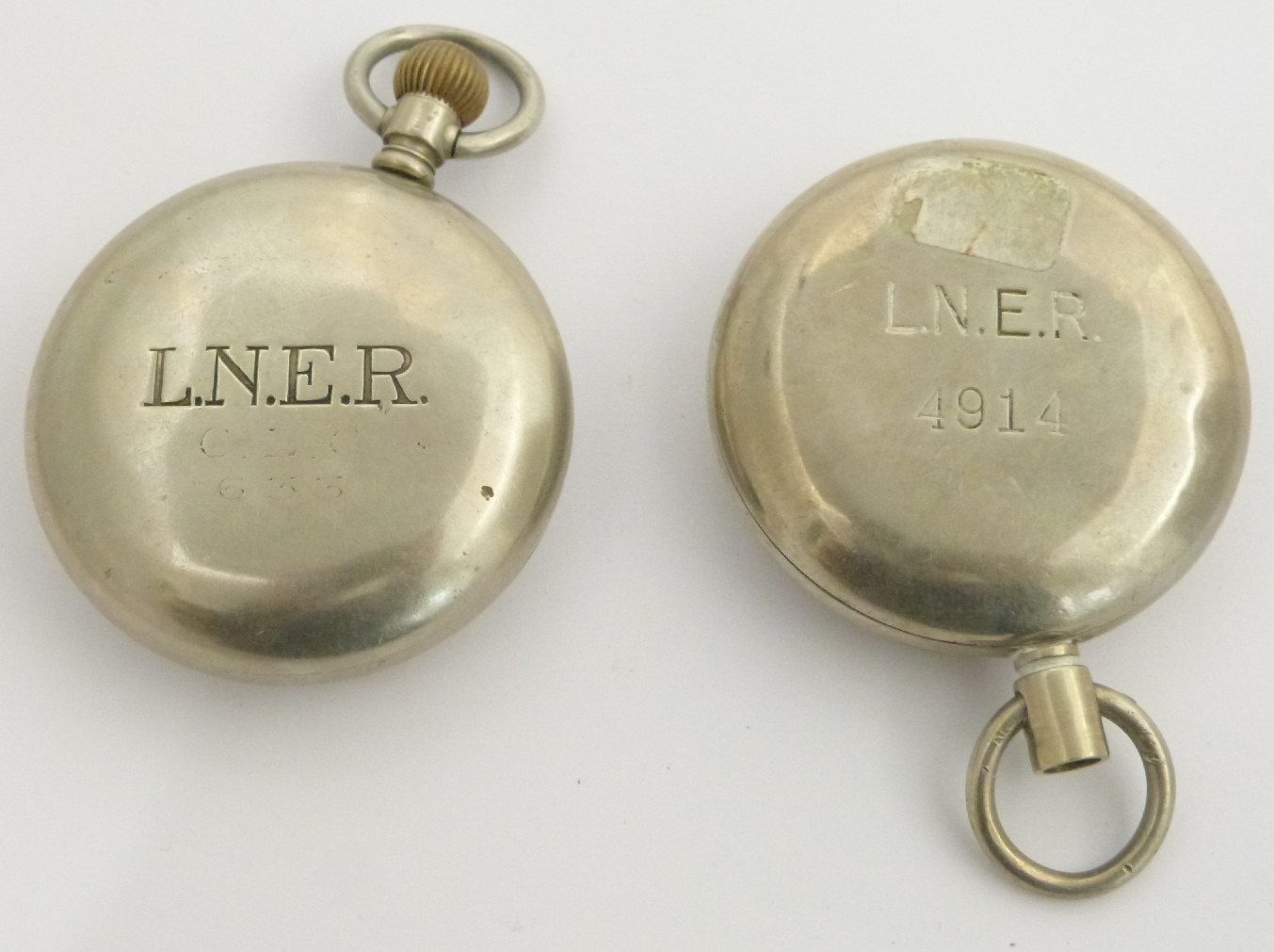 Lot 48 - Two London North Eastern Railway keyless winding open faced pocket watches, one Tissot, both with