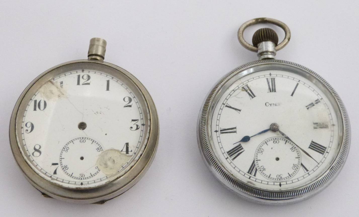 Lot 57 - Two British Railways keyless winding open face pocket watches, one a Cyma Southern region the