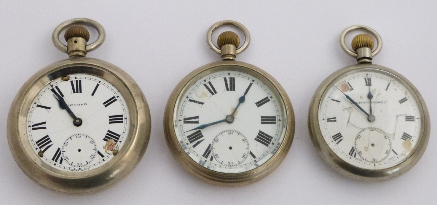 Lot 42 - Three London Midland and Scottish railway keyless winding open faced pocket watches, one Record