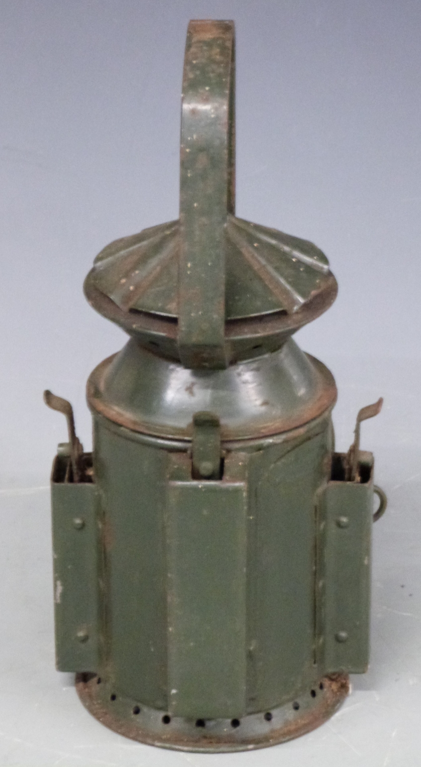 Lot 18 - Military railway or similar tri colour hand lamp marked Wakefield 1945, height 30cm