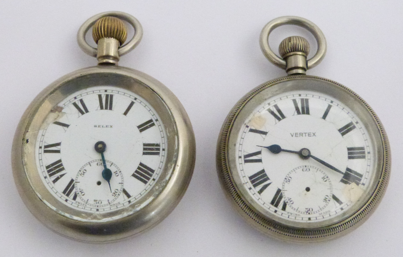 Lot 46 - Two Southern Railway keyless winding open faced pocket watches, one Vertex the other Selex, both