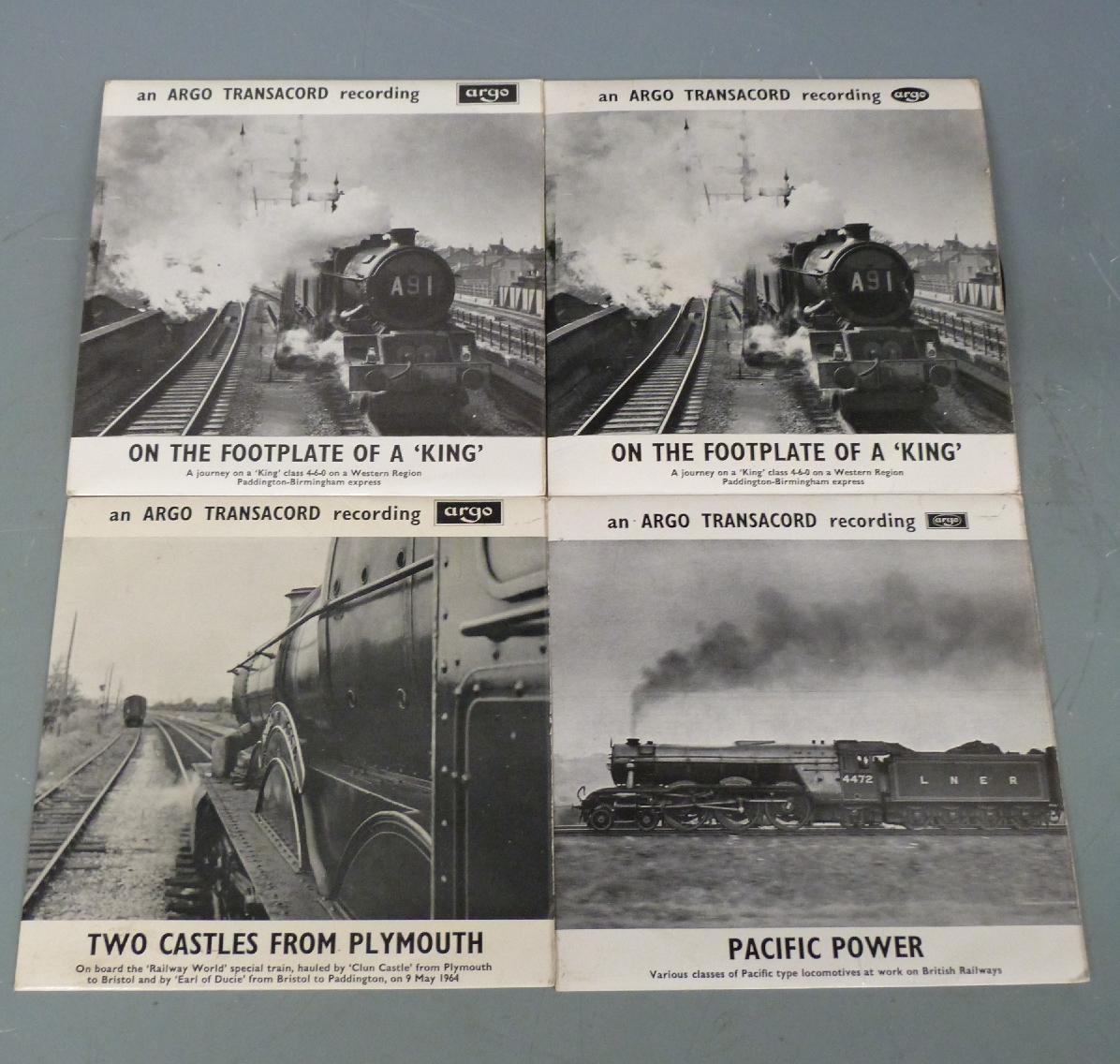 Lot 19 - Six Argo records of steam locomotives to include Trains in the Hills, The Great Western, On the