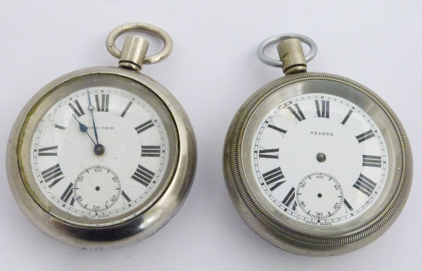 Lot 54 - Two British Railways Scottish region Record keyless winding open faced pocket watches, both with