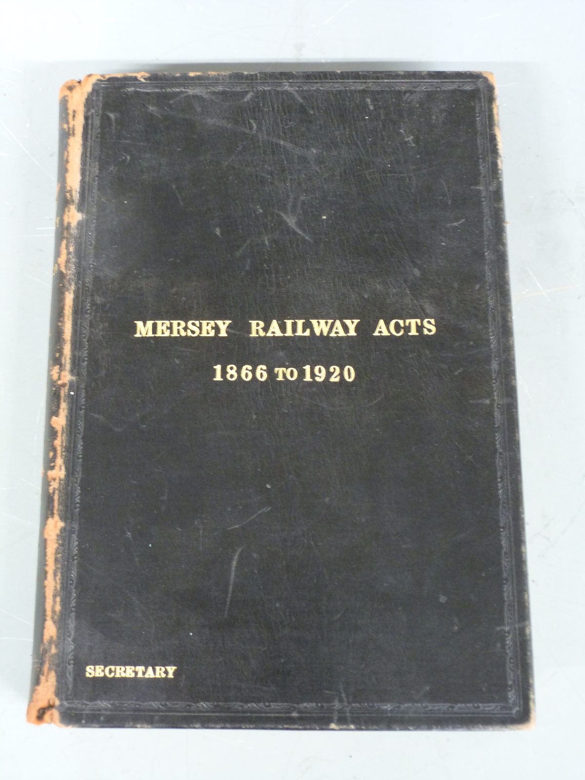 Lot 28 - Victorian Mersey Railway Acts 1866-1920 leather bound book, height 27cm