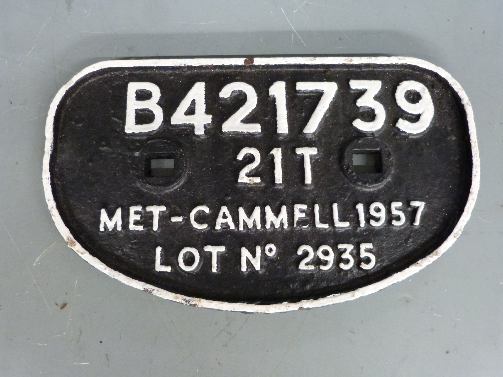 Lot 26 - Five wagon and similar plates including Met-Cammell 1957, Pickering 1956, British Railways BK