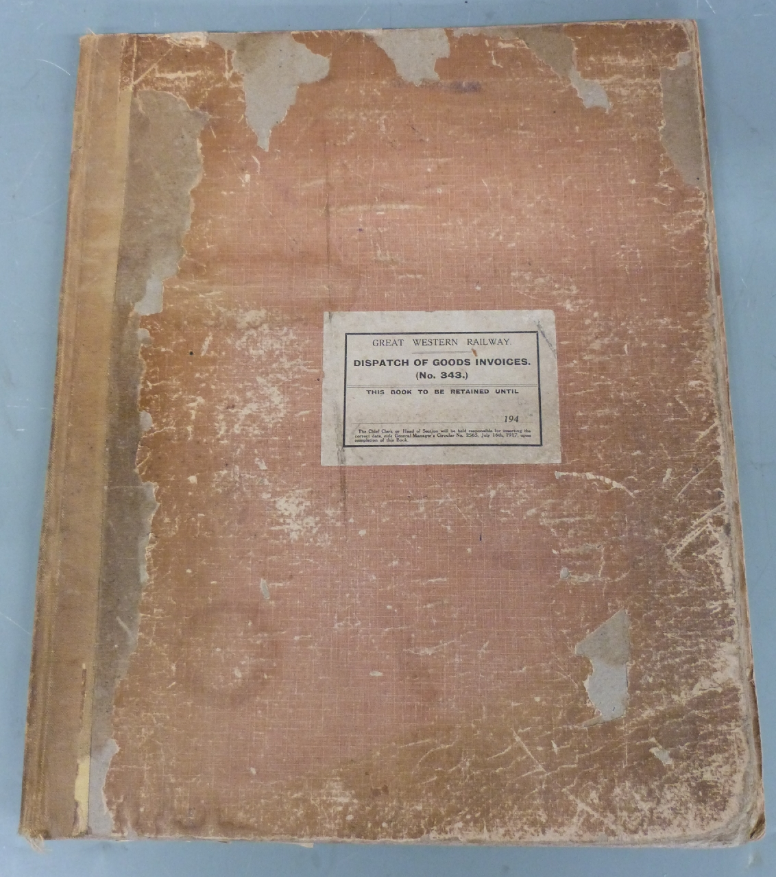 Lot 21 - Great Western Railway, Kings Heath Dispatch of Goods Invoices ledger, circa 1950