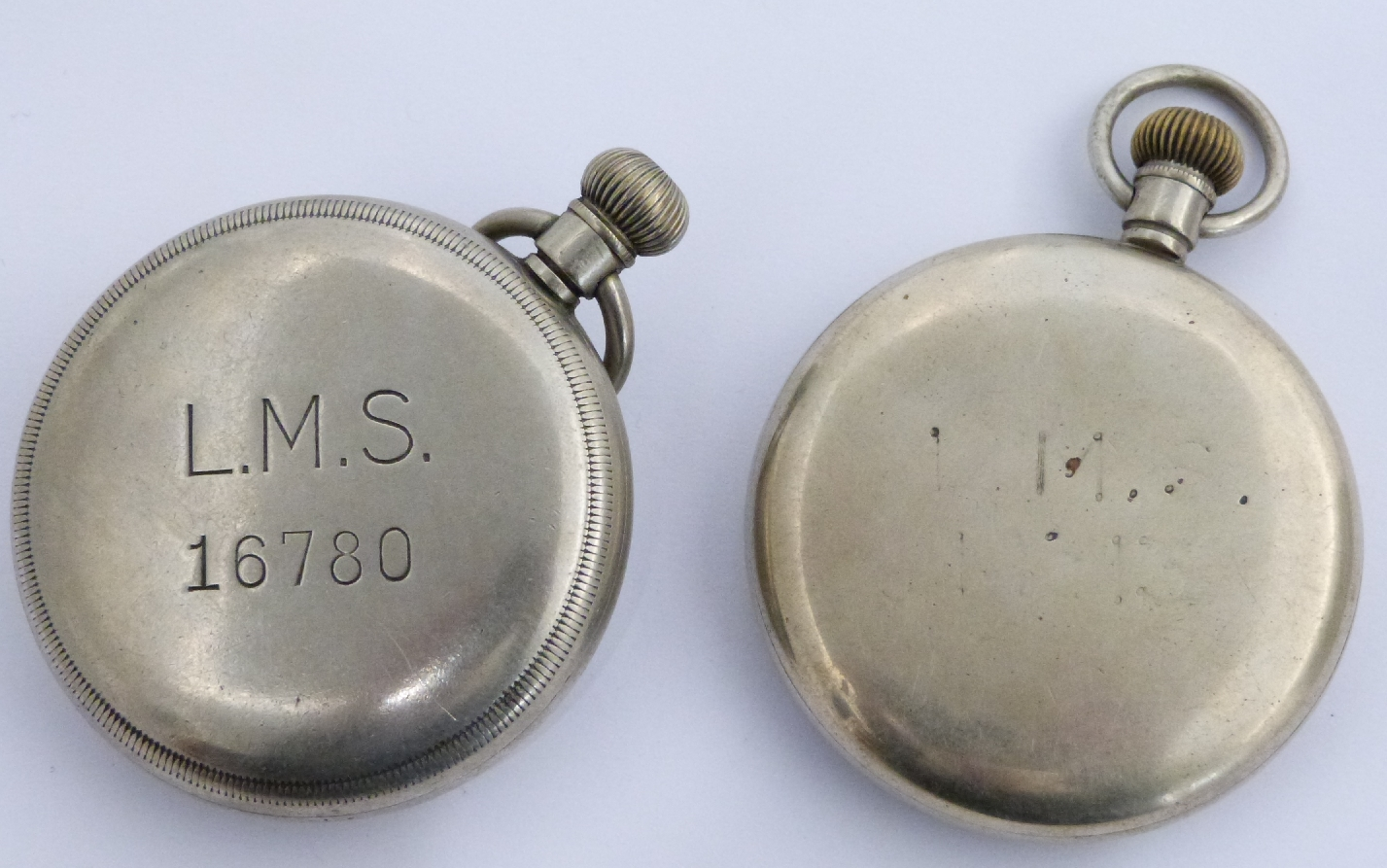 Lot 38 - Two London Midland and Scottish railway Limit keyless winding open faced pocket watches, each with