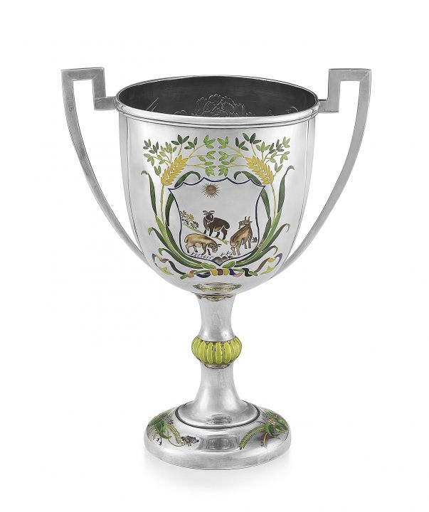 Lot 258 - A Chinese Export silver and enamelled two-handled trophy cup, early 20th century