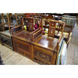 Lot 1488 - Two similar 19th century Chinese inlaid armchairs.