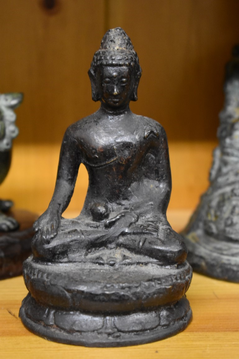 Lot 615 - A group of six various figures, comprising: an Indian bronze of Indra and Erawan, 19cm high, on wood