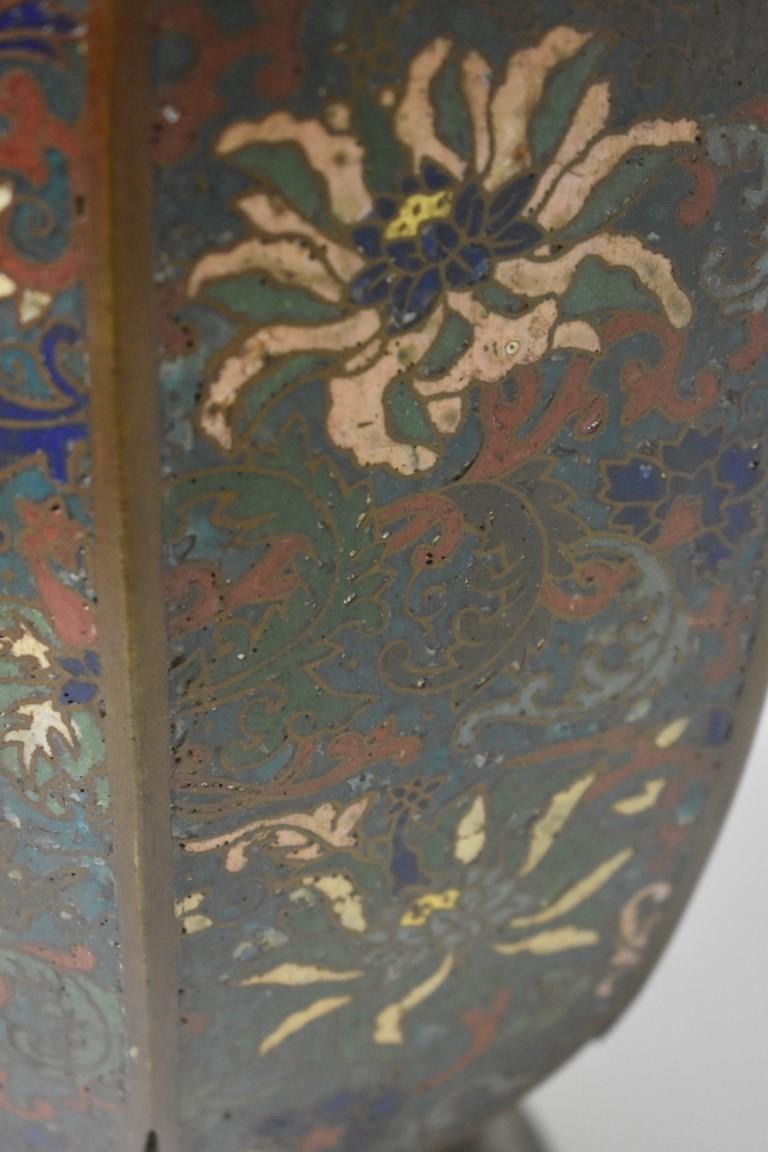 Lot 593 - A large Chinese cloisonne enamel octagonal vase, 36cm high.