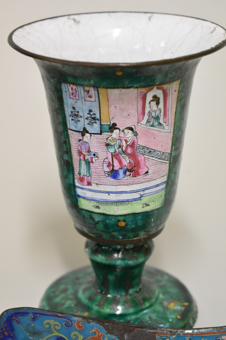 Lot 551 - Four Chinese Canton enamel items, Qing, comprising: a pair of pedestal goblets, 16cm high; a