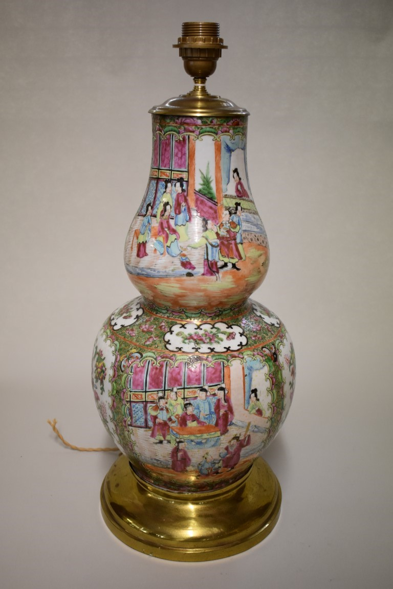Lot 594 - A large Chinese Canton famille rose double gourd table lamp, 19th century, height including