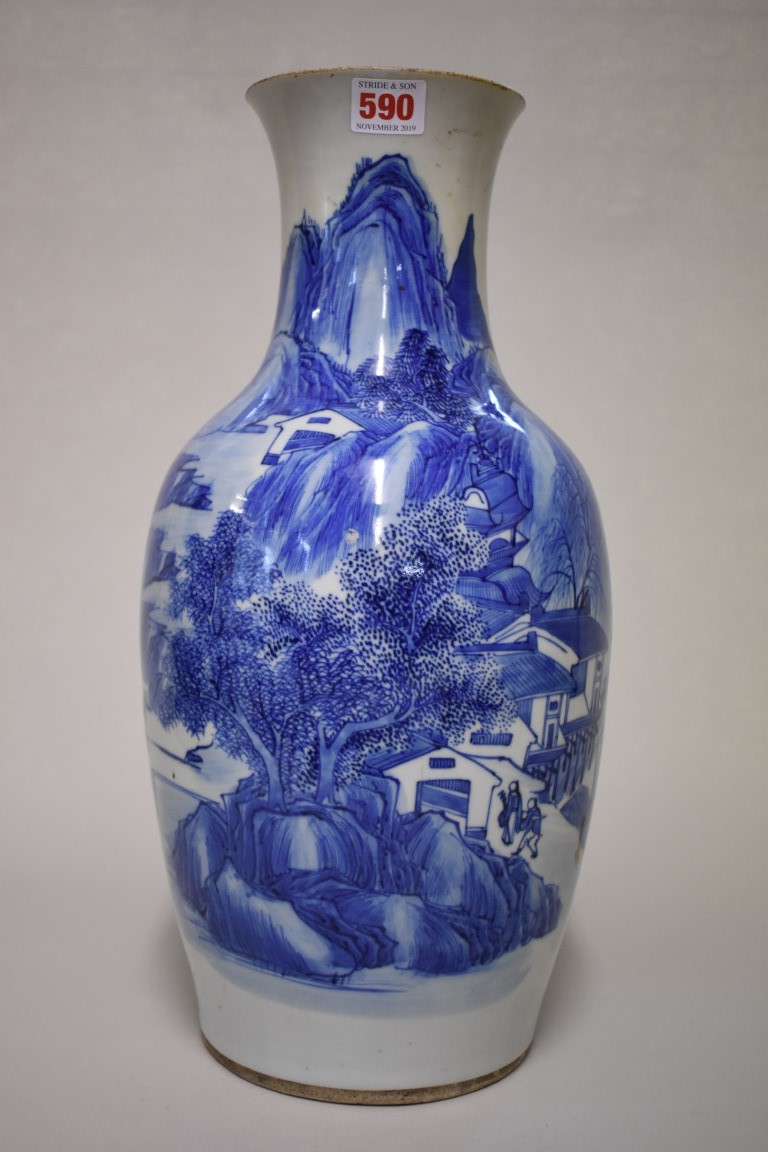 Lot 590 - A Chinese blue and white vase, late 19th century, painted with figures in an extensive landscape,