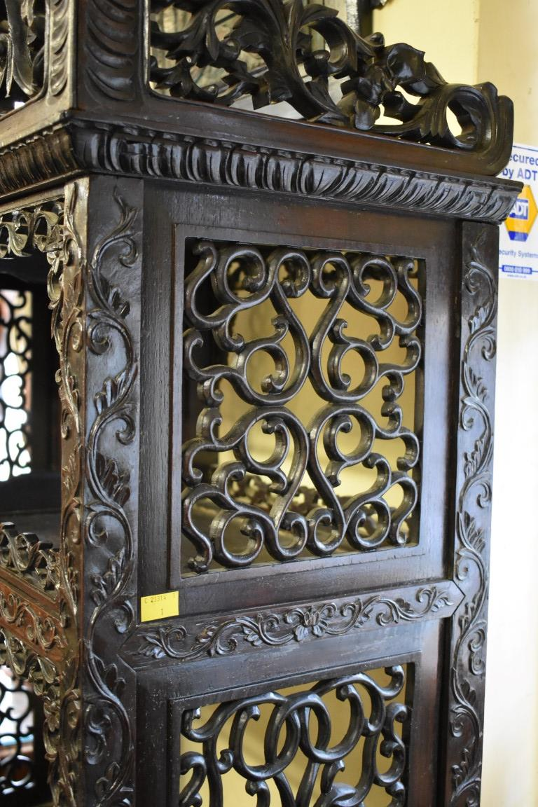 Lot 613 - A good Chinese carved and pierced hardwood display cabinet, late 19th century, 183.5cm high x 89.5cm
