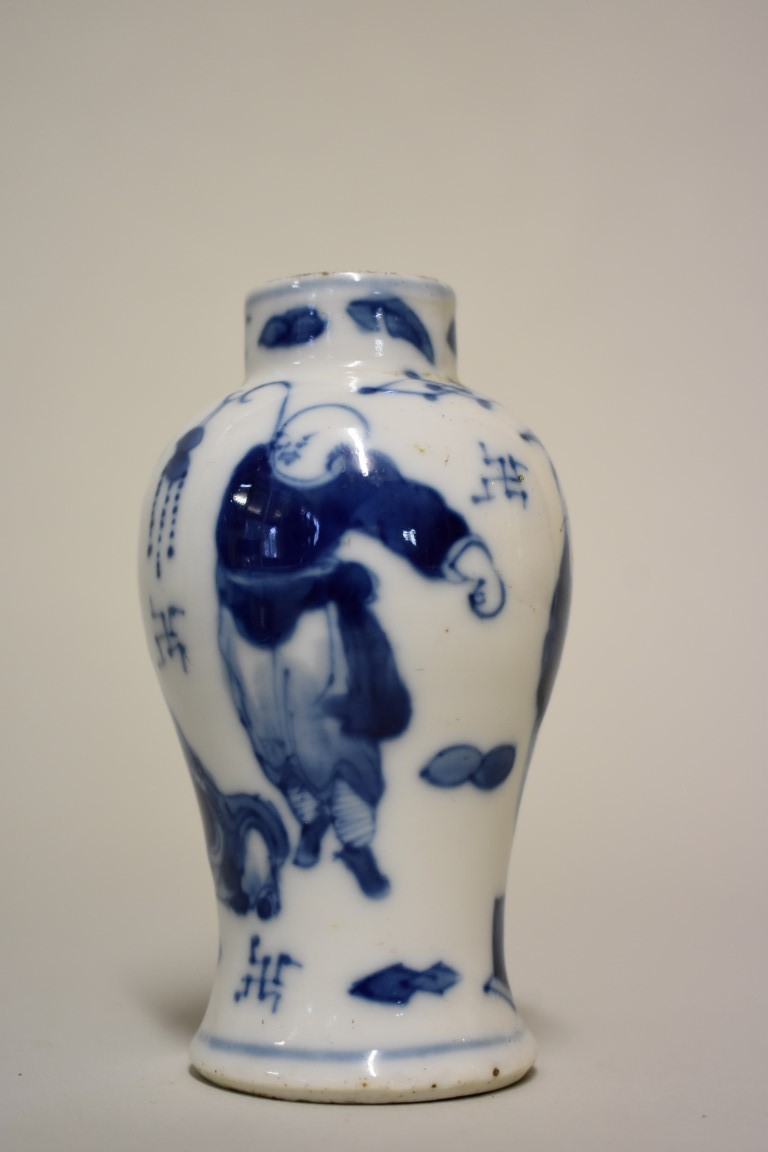 Lot 602 - A small group of Chinese blue and white, to include: a prunus jar and cover, 26cm high. (8)