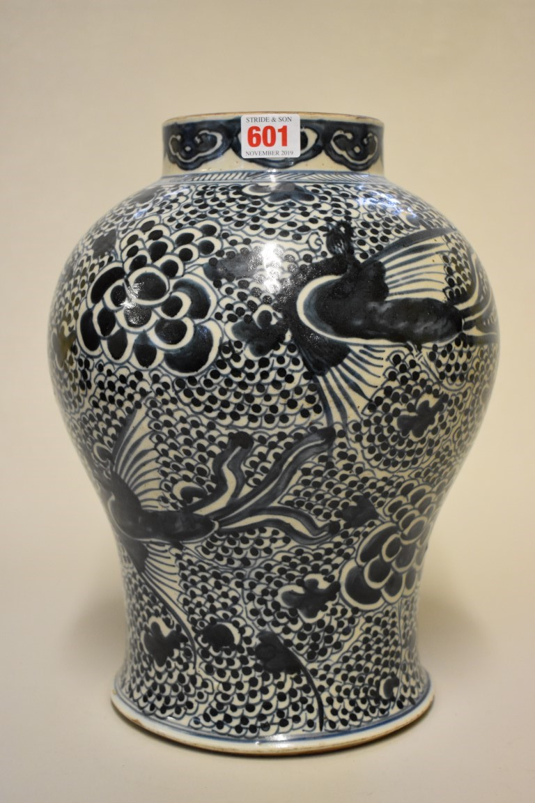 Lot 601 - A Chinese blue and white inverted baluster phoenix jar, 18th century, 34cm high.
