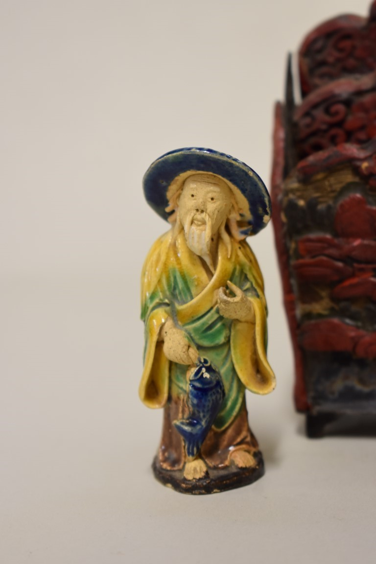 Lot 586 - A mixed group of Chinese items, to include:three rock crystal figures, largest 11.5cm high; enamel;