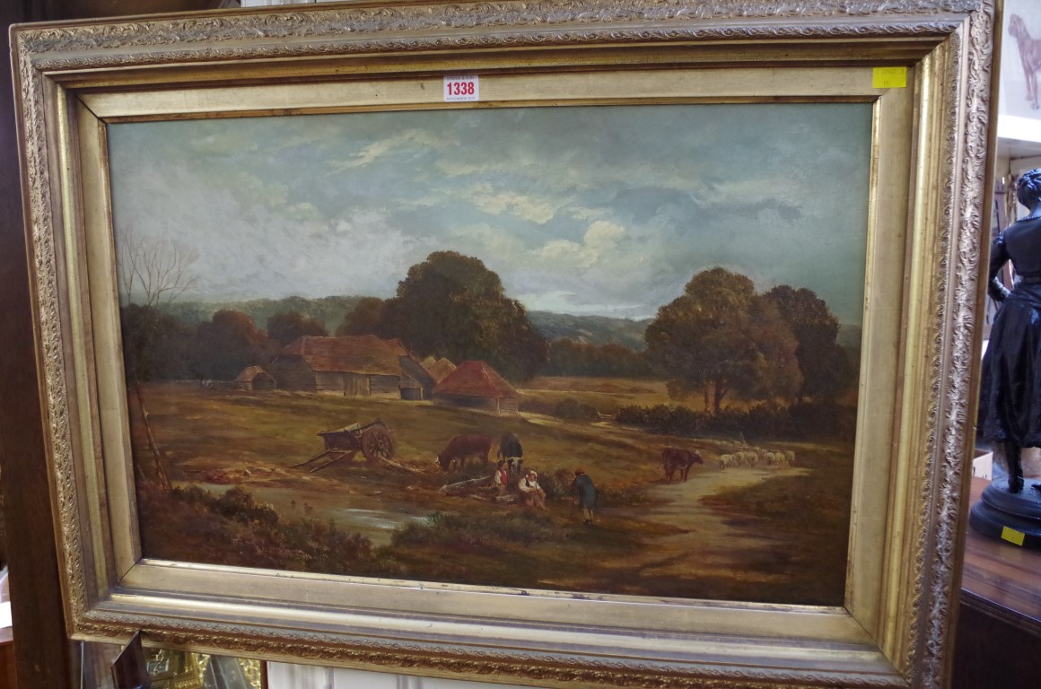 Lot 1338 - Walter Goldsmith, a farmyard scene, signed, oil on canvas, 44.5 x 69.5cm.