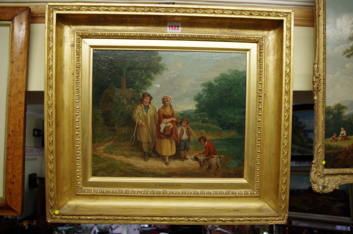 Lot 1522 - Follower of Francis Wheatley,'Rustic Figures', inscribed on old label verso, oil on canvas, 30 x