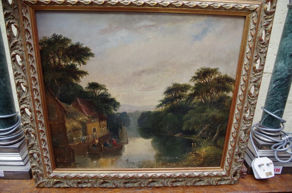 Lot 1198 - European School, a river scene, oil on panel, 33 x 37cm.