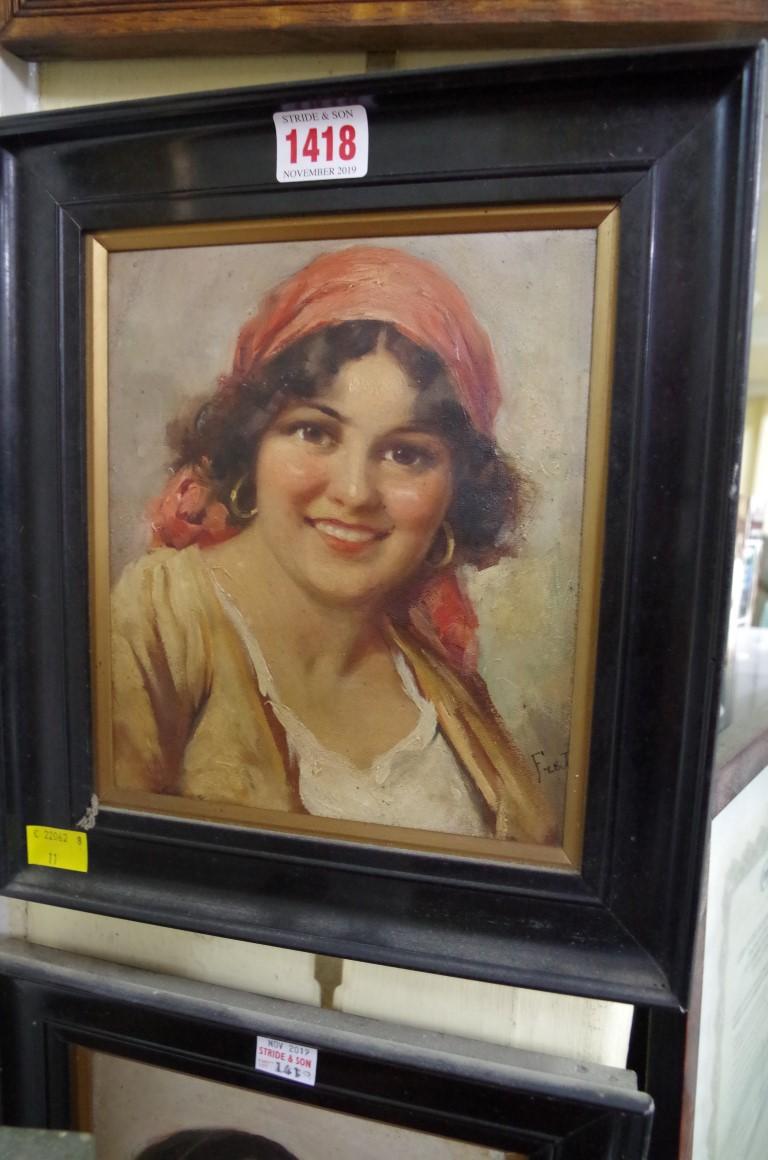 Lot 1418 - Italian school, boy and girl, a pair, oil on canvas, 20 x 17cm. (2)