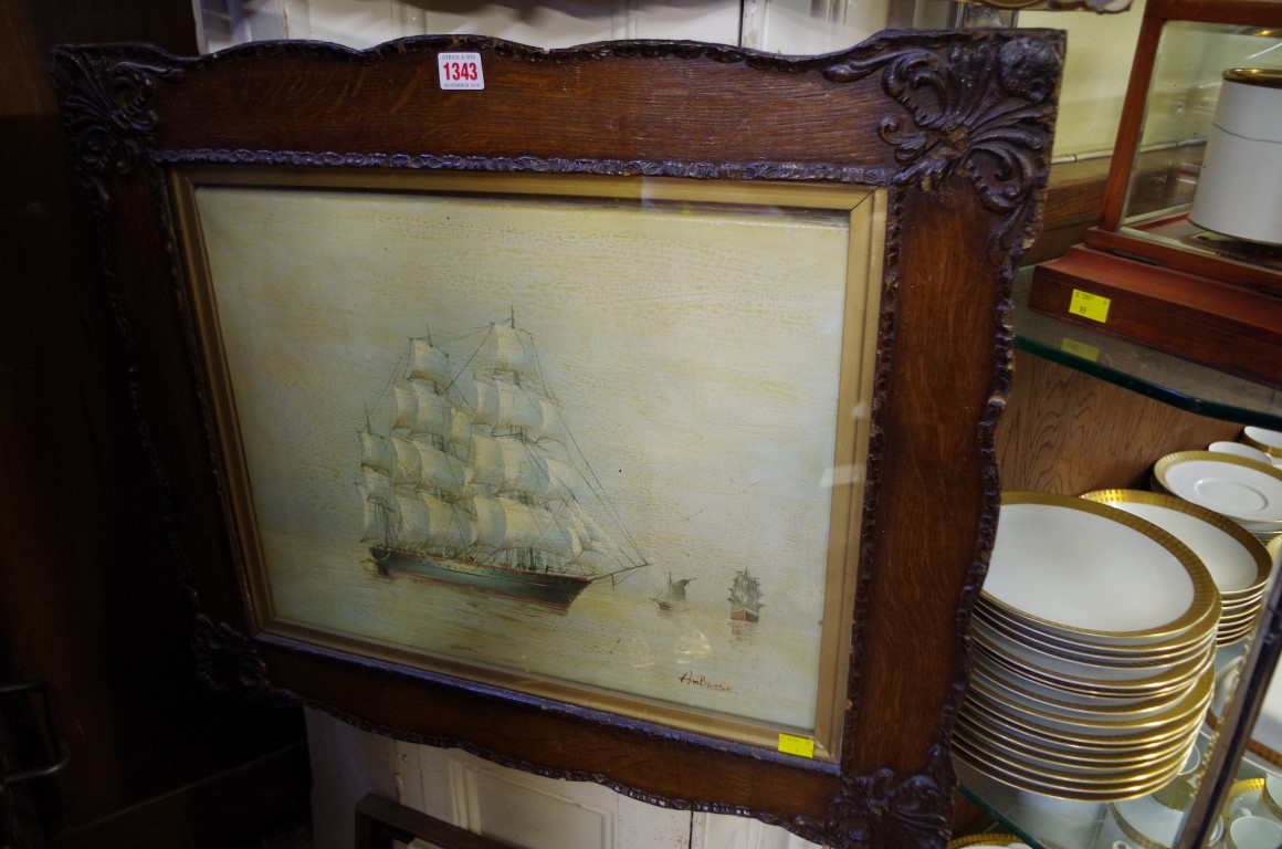 Lot 1343 - * Ambrose,a clipper, signed, oil on canvas, 39 x 49cm.