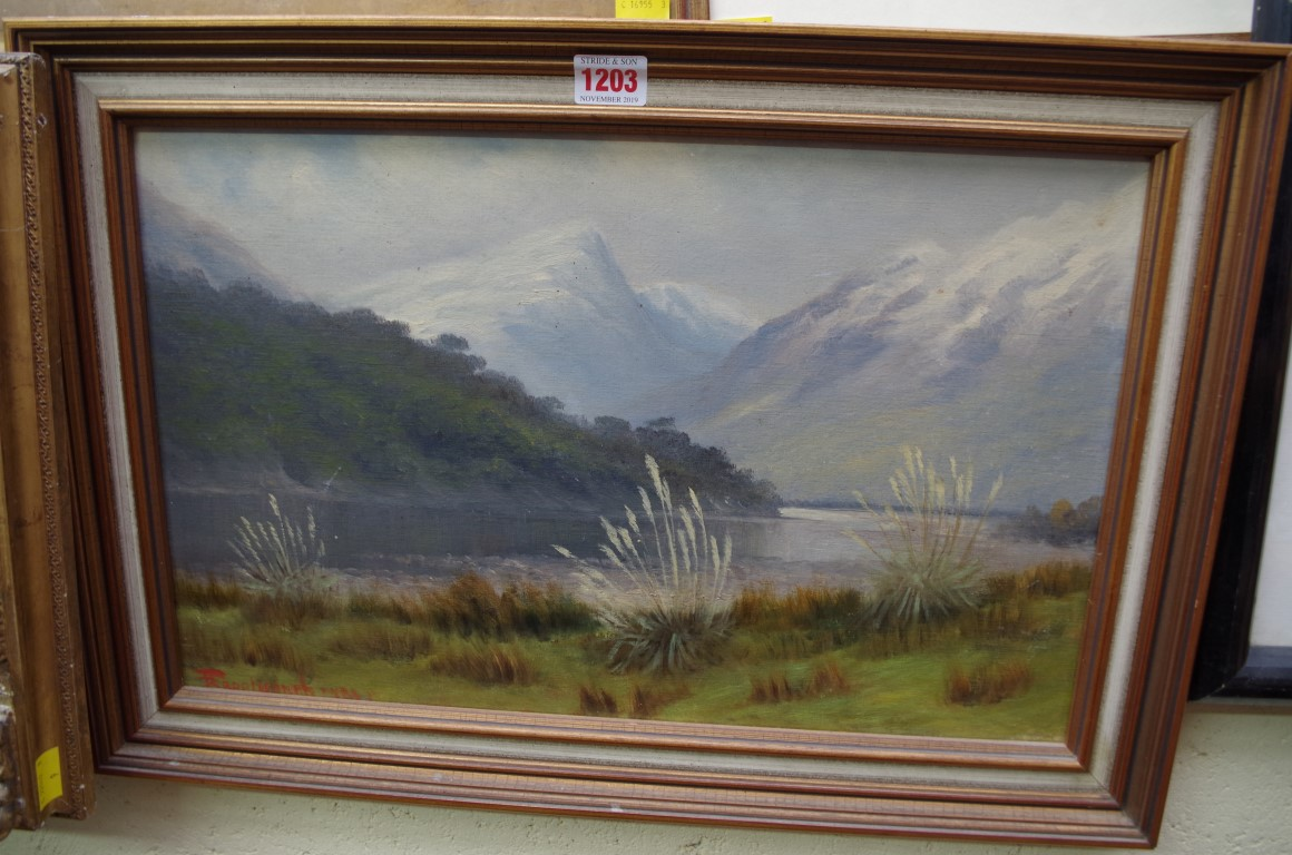 Lot 1203 - Frank Brookesmith, 'The Dart Valley, near Queenstown, New Zealand', signed, oil on board, 28.5 x